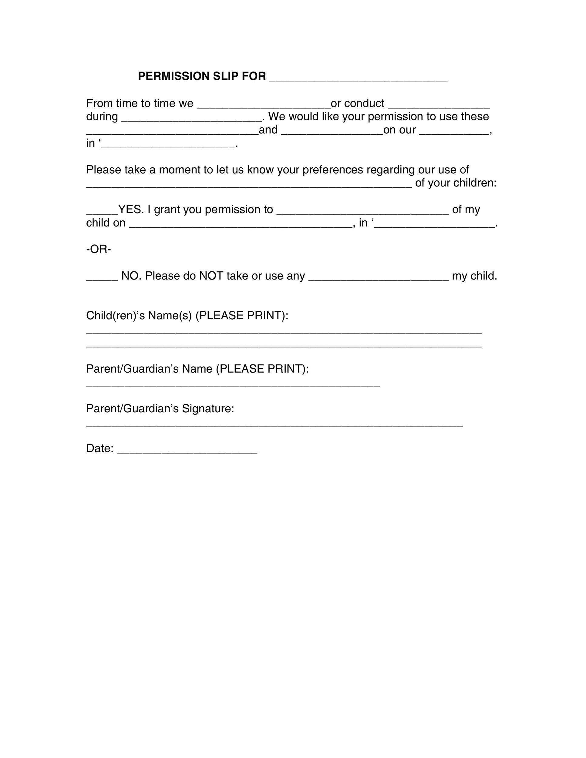 Permission slip templates field trip forms printable permission slip 18 altavistaventures Images