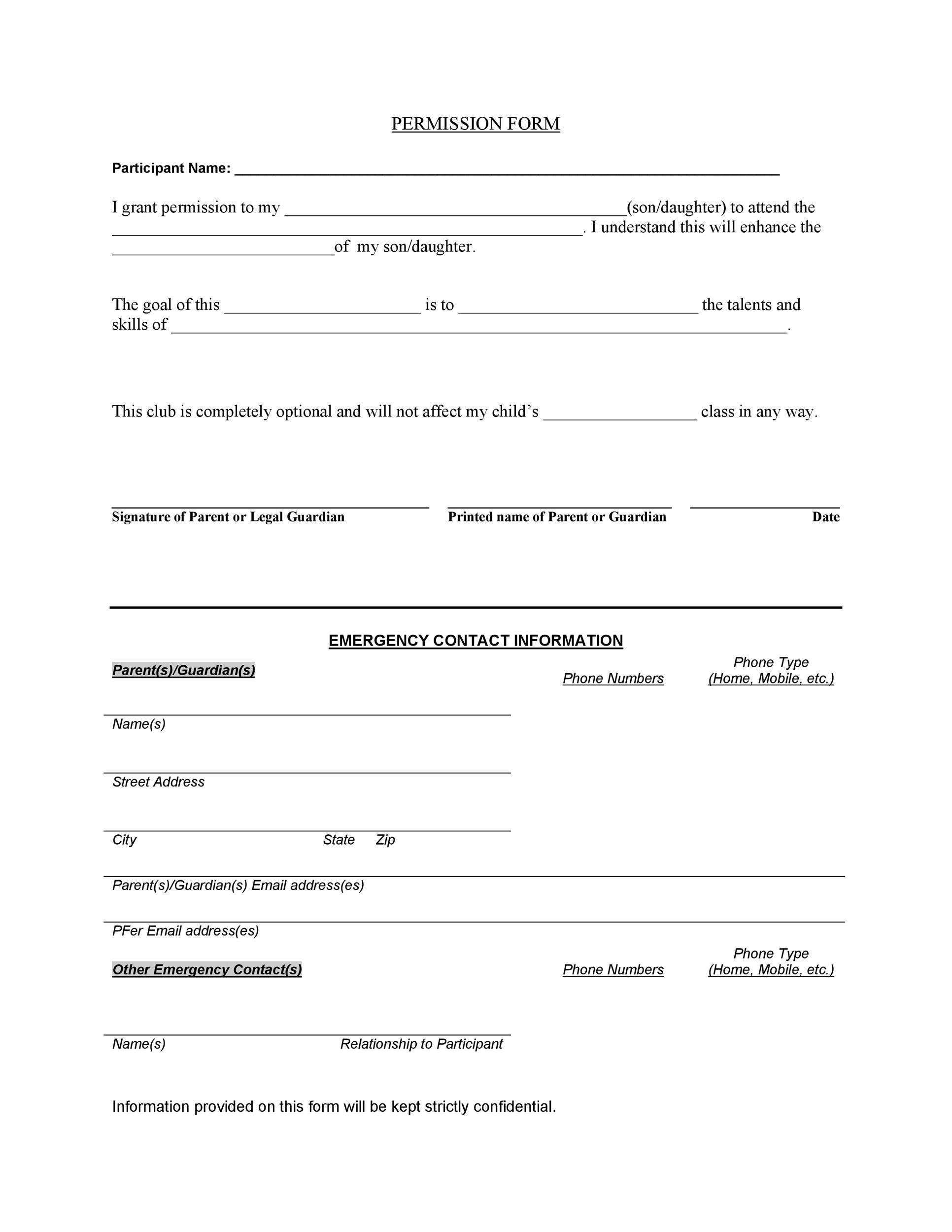 Printable Permission Slip 21  Contact Information Template