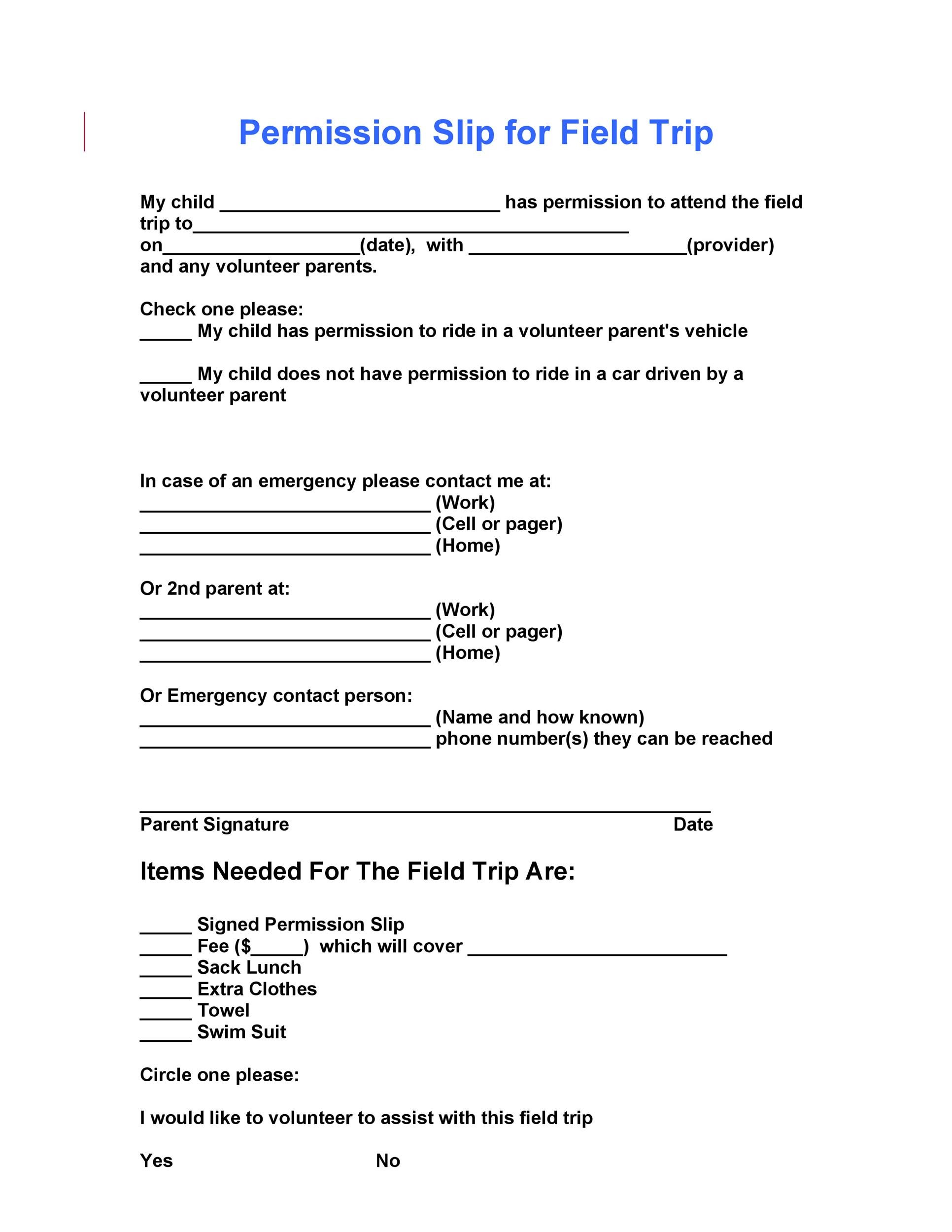 35 Permission Slip Templates Field Trip Forms – Parents Consent Letter for Work