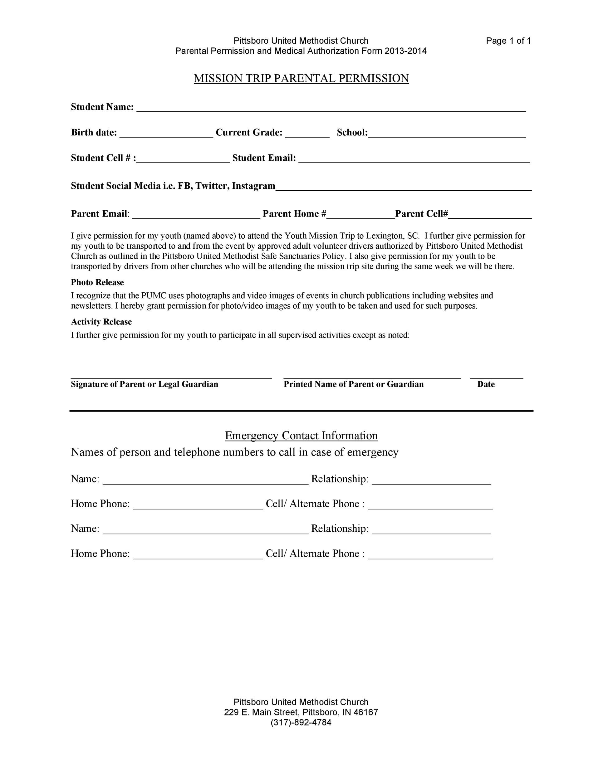 35 Permission Slip Templates & Field Trip Forms