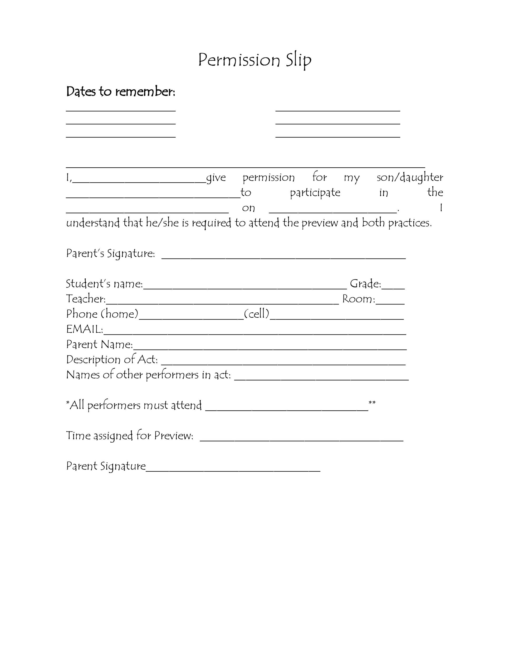 Printable Permission Slip 27  Permission Slip Template Word
