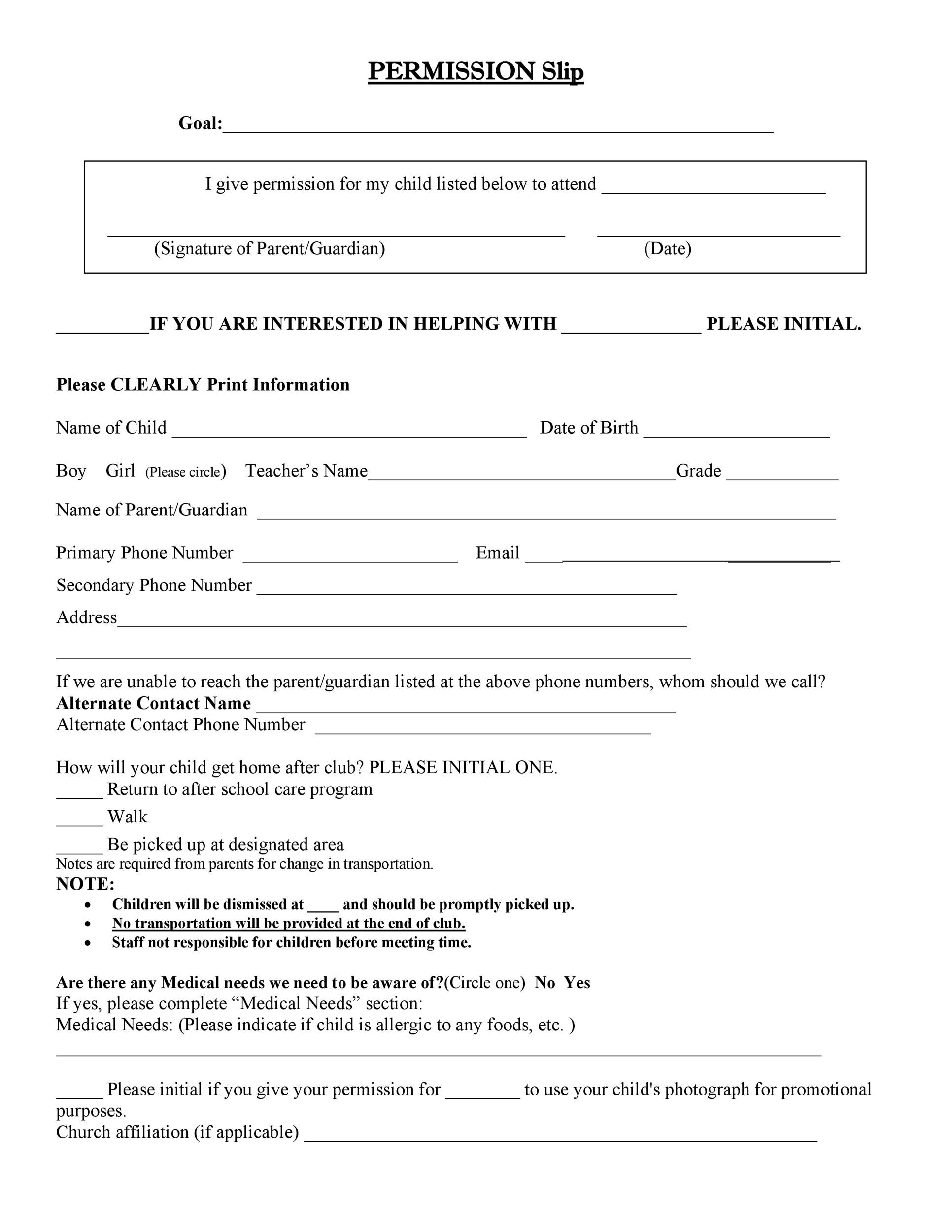 Free Permission Slip 30