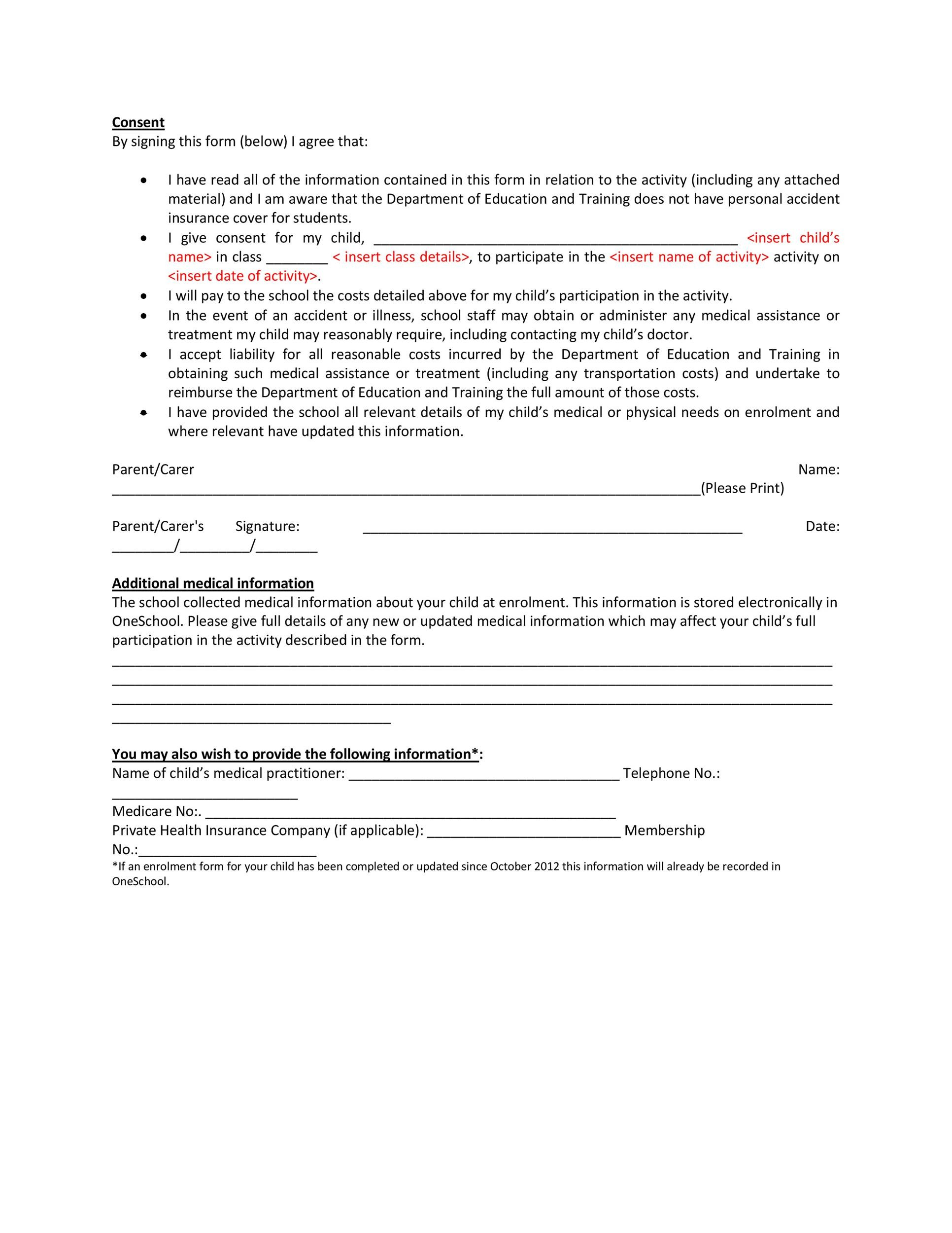 Permission Slip Templates  Field Trip Forms