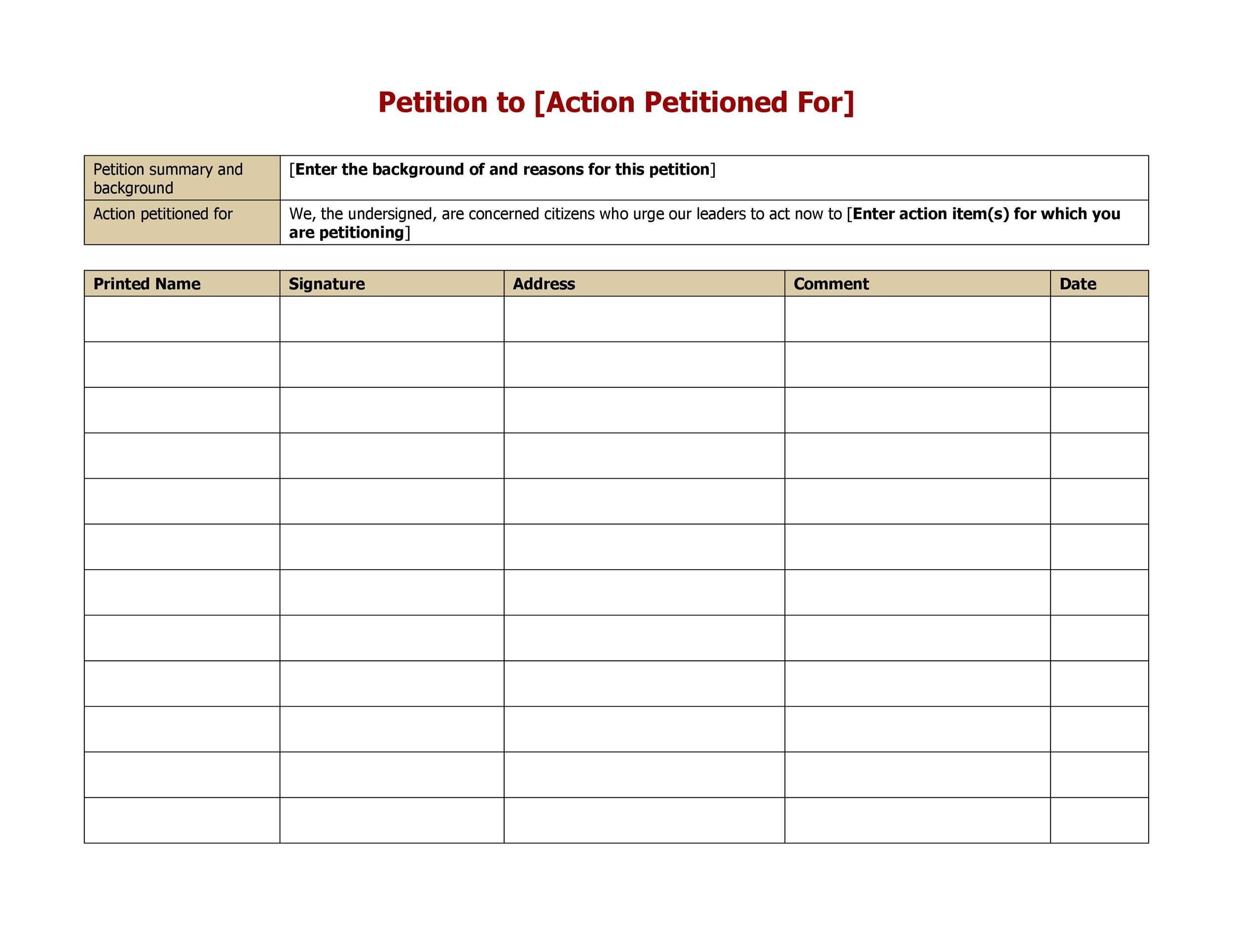 High Quality Printable Petition Template 01