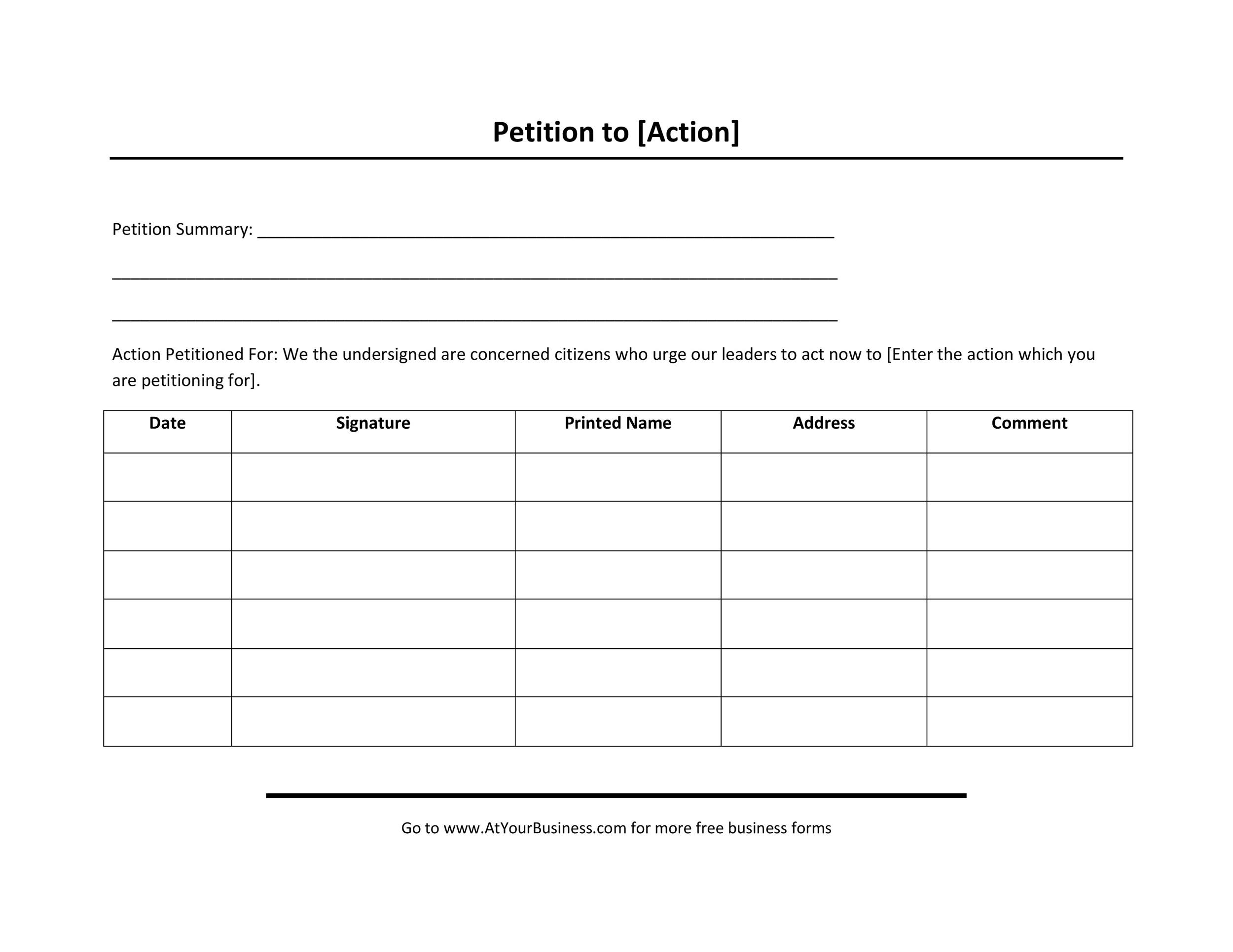 Perfect Free Petition Template