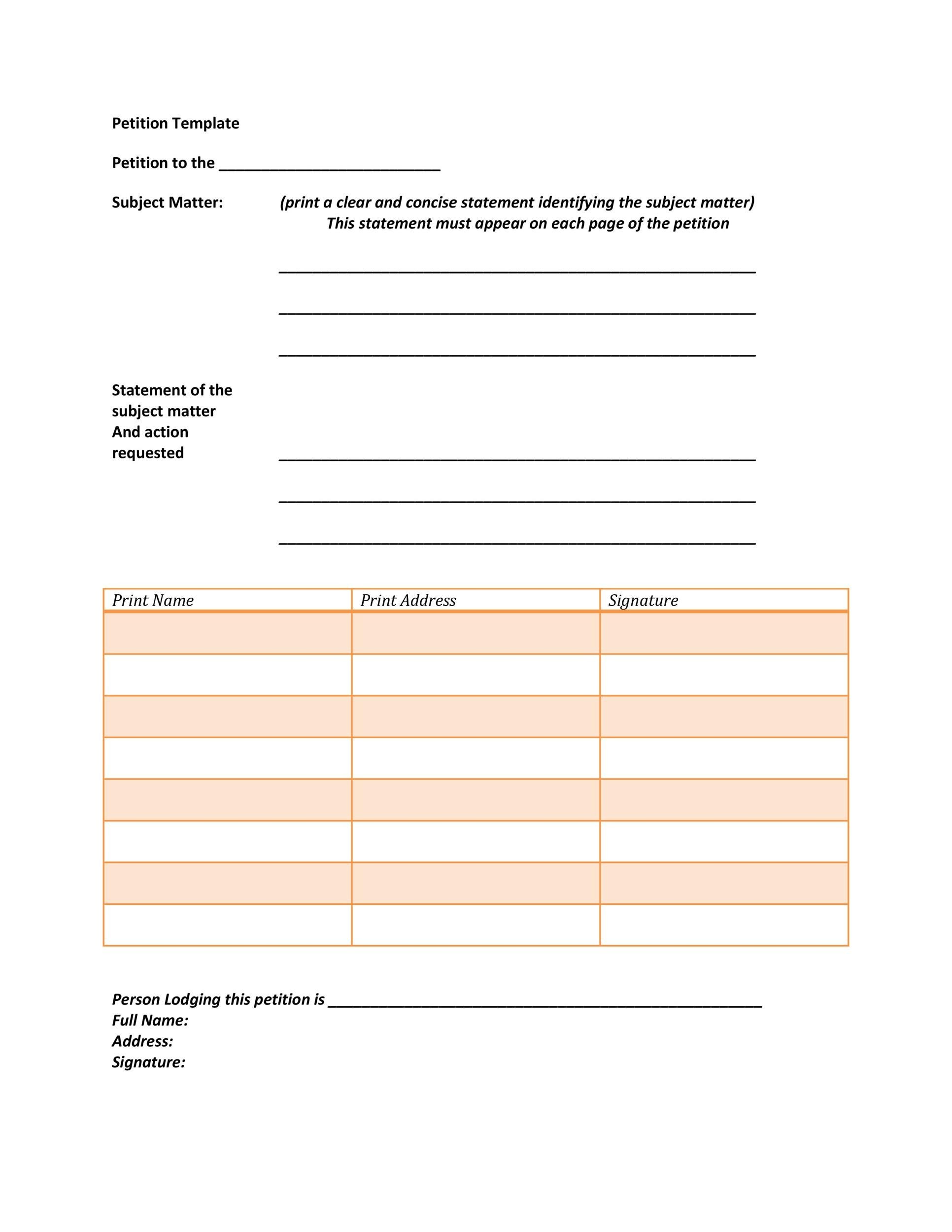 Free Petition template 08