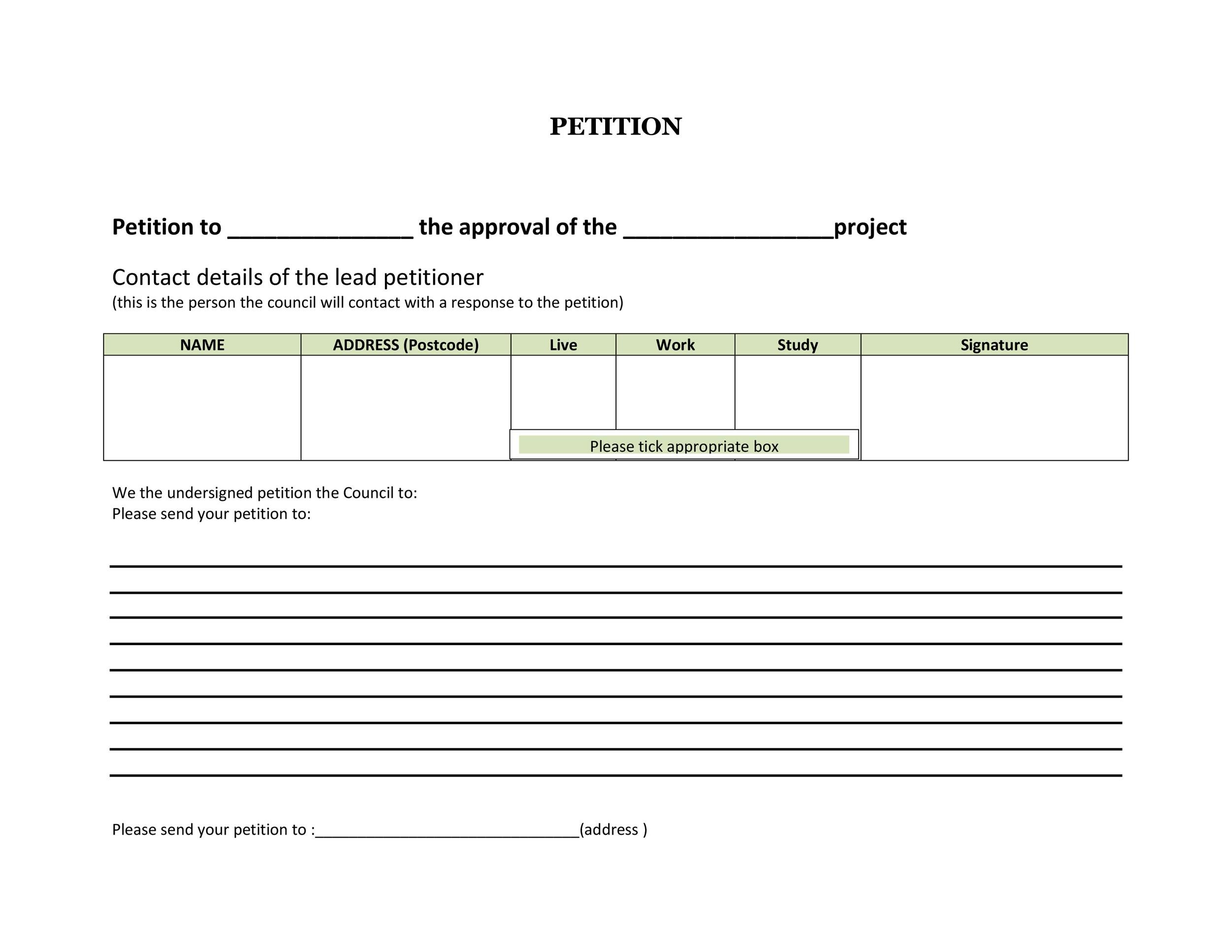 Free Petition template 10