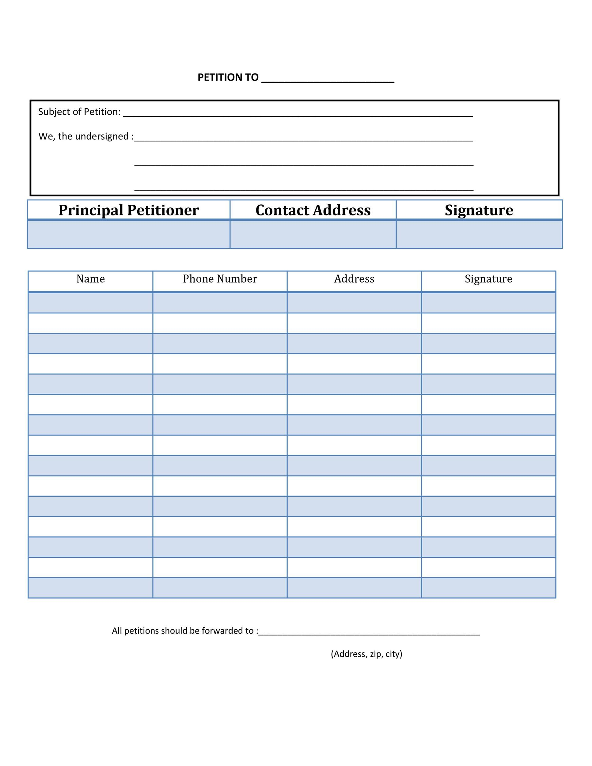Printable Petition Template 12  Name Address And Phone Number Template
