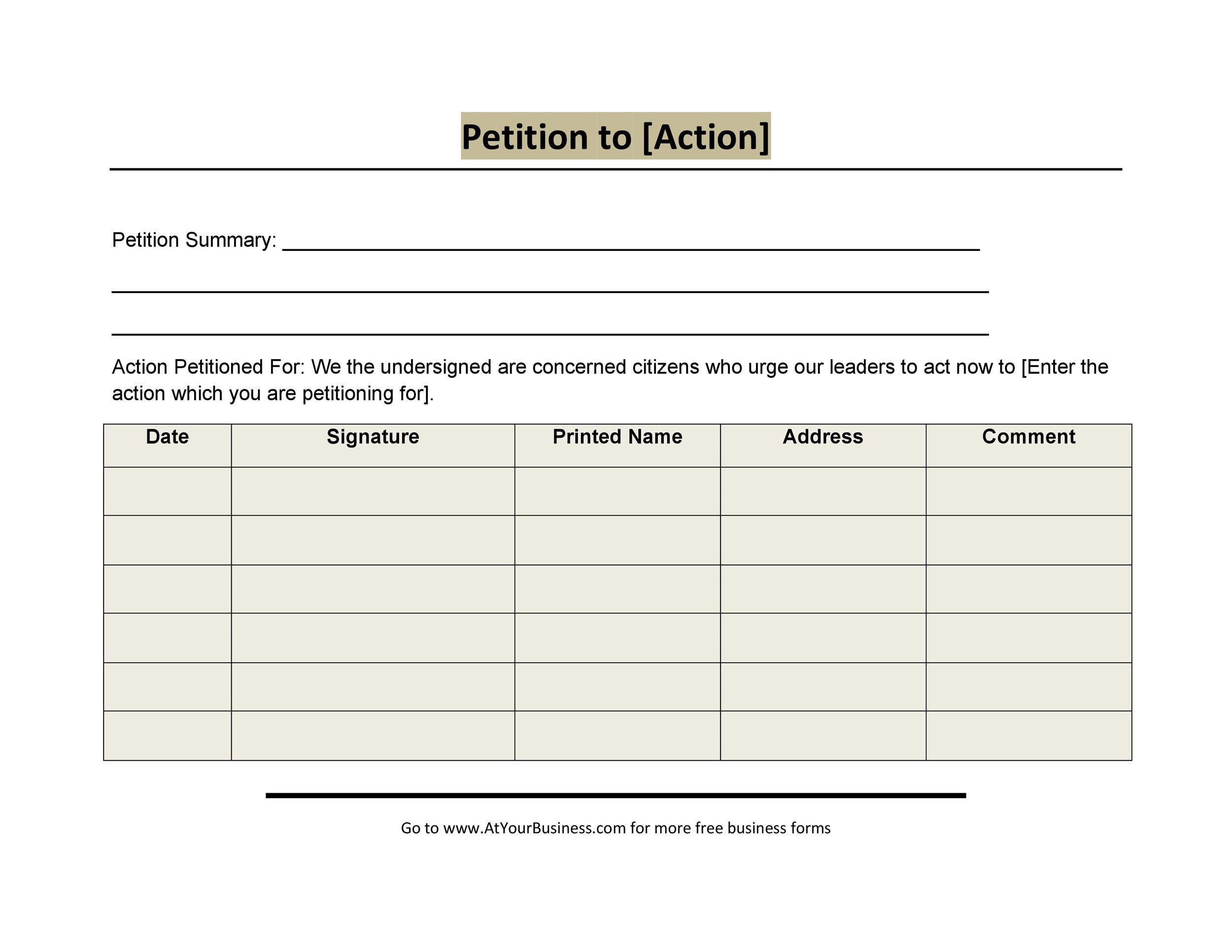 Petition Template Fljud Org Petition Formats Free Sample Noise
