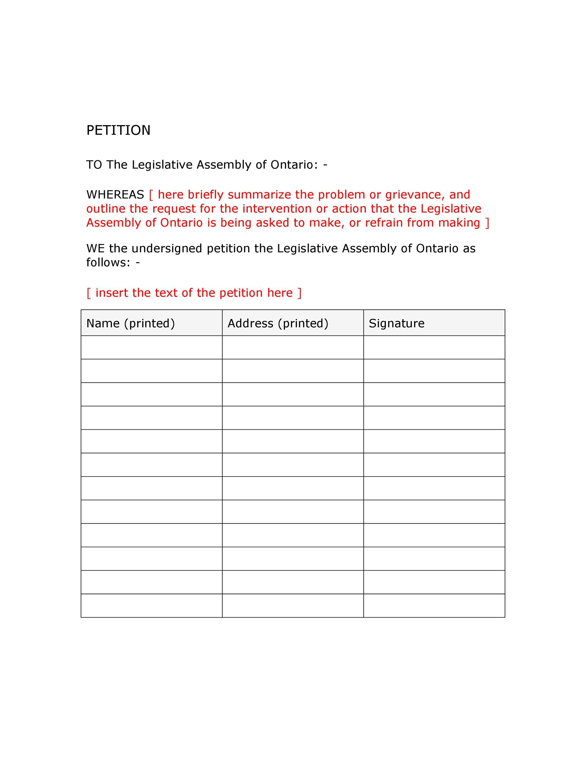 Free Petition template 17