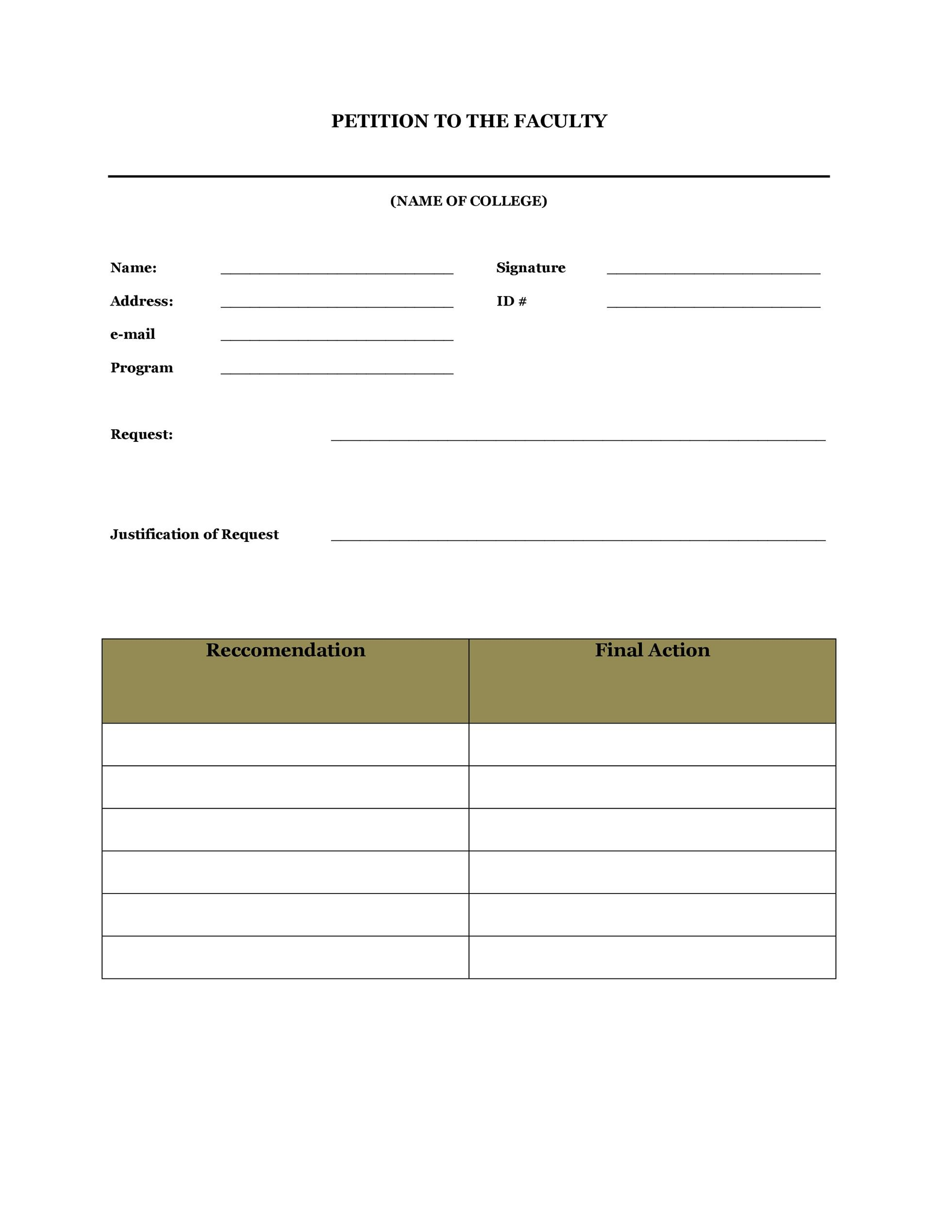 Free Petition template 26