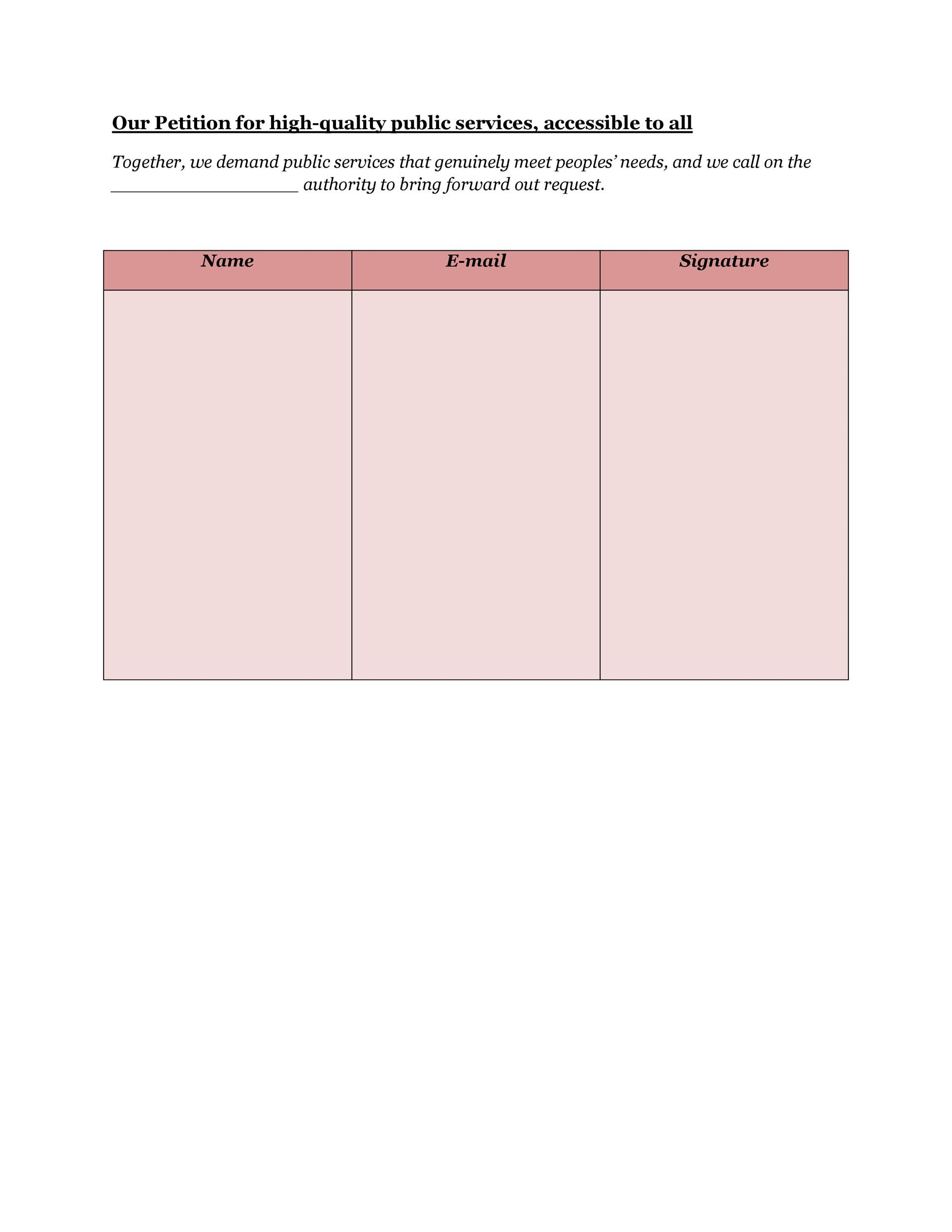 Petition writing help