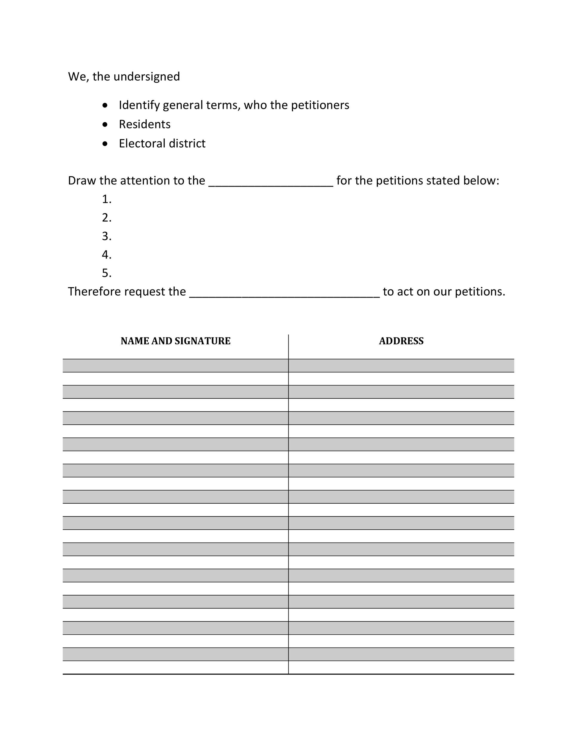 Free Petition template 29