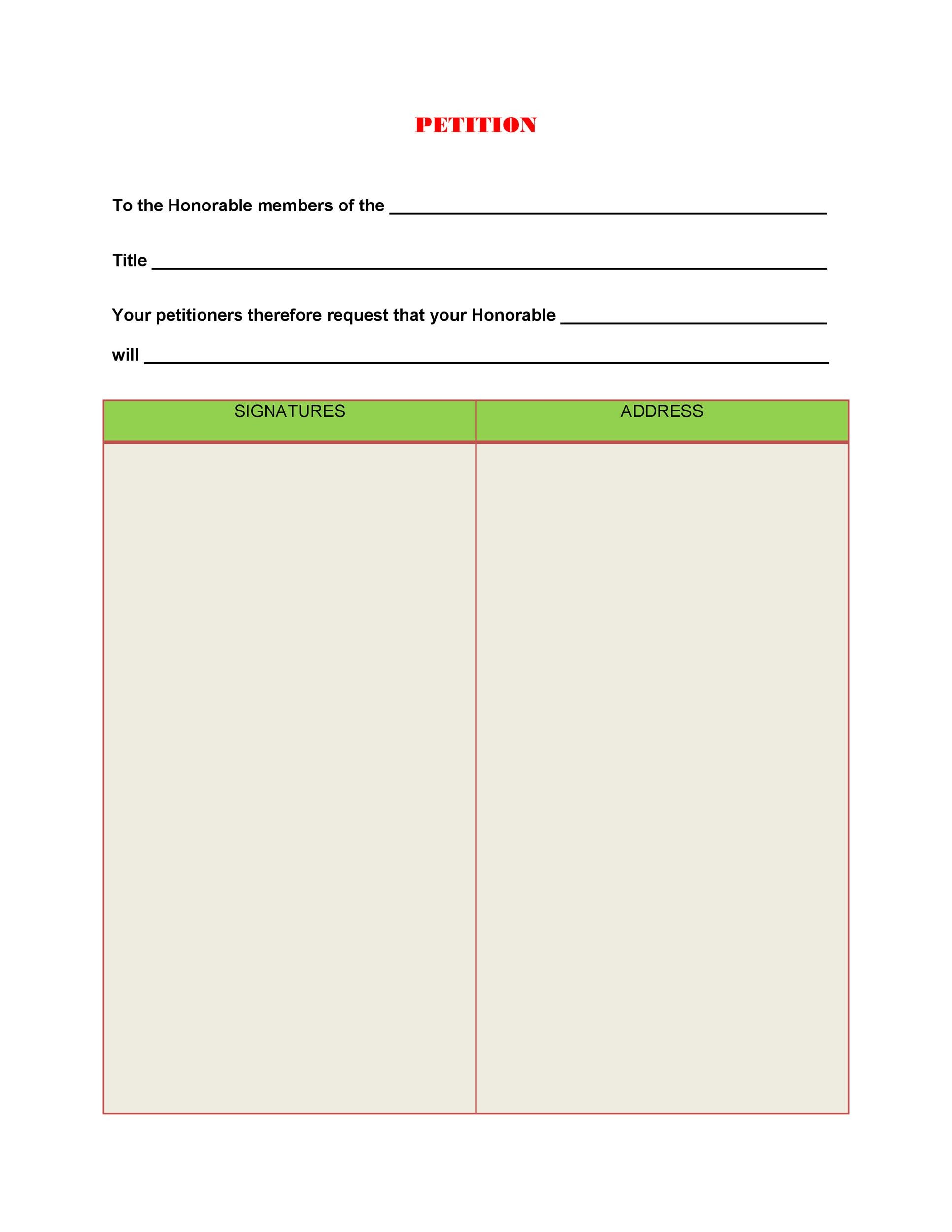 Free Petition template 30