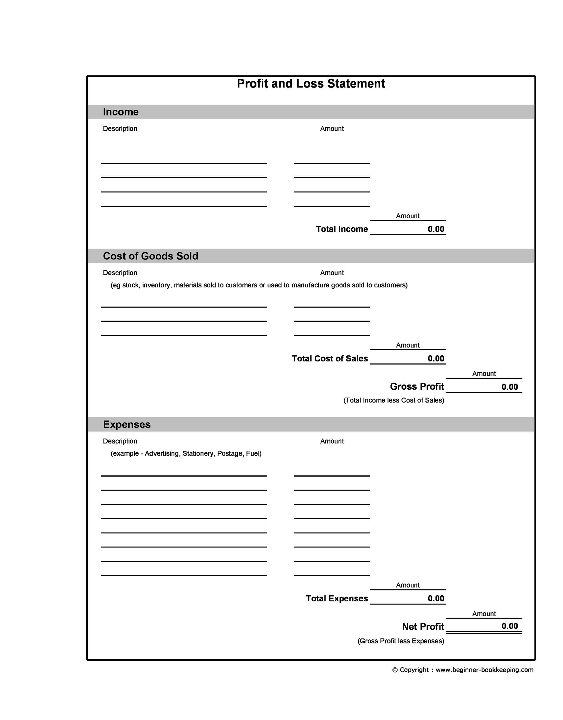 Free Profit and Loss Statement Template 26