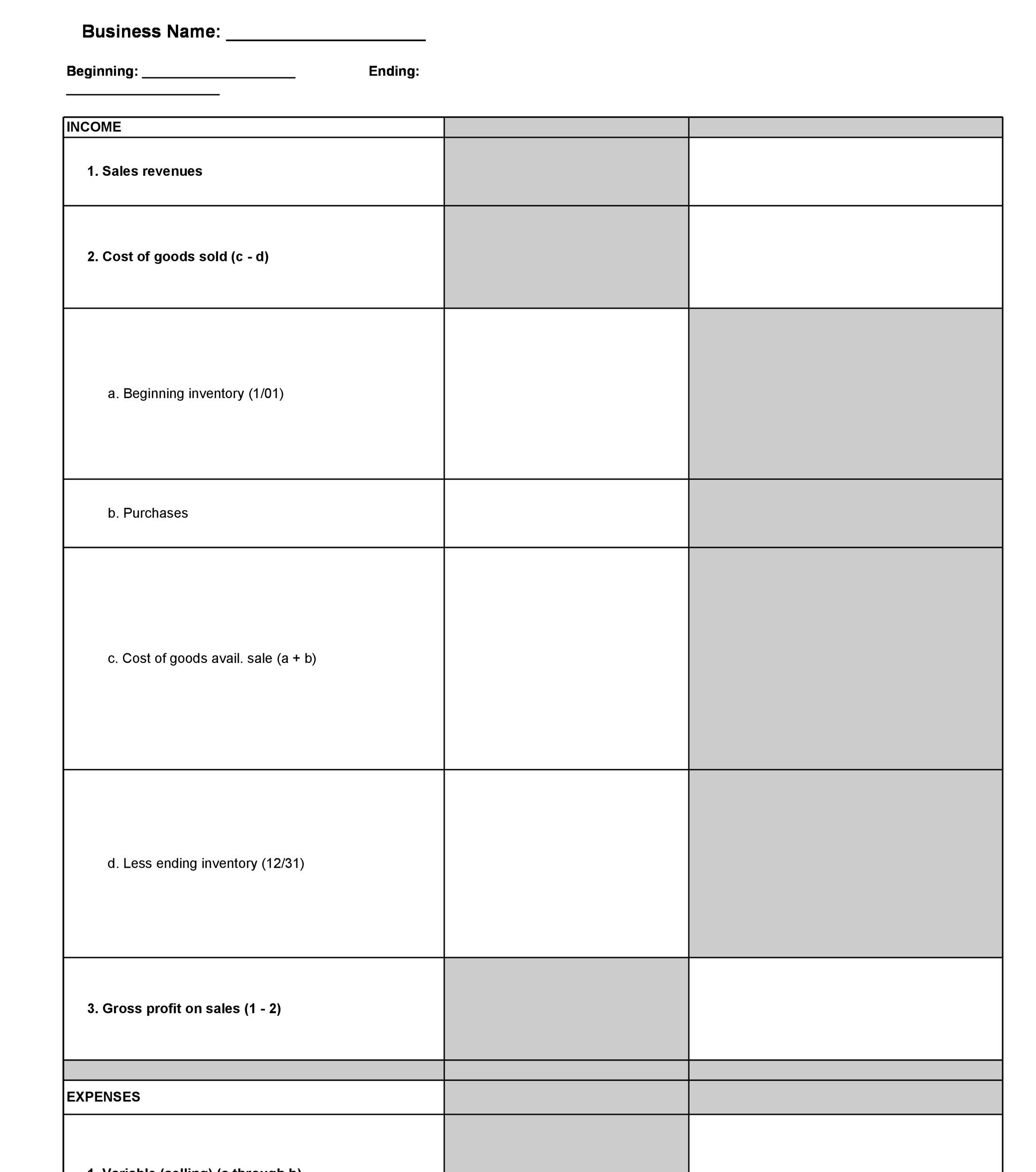 Printable Profit And Loss Statement Template 32  Profit Loss Template