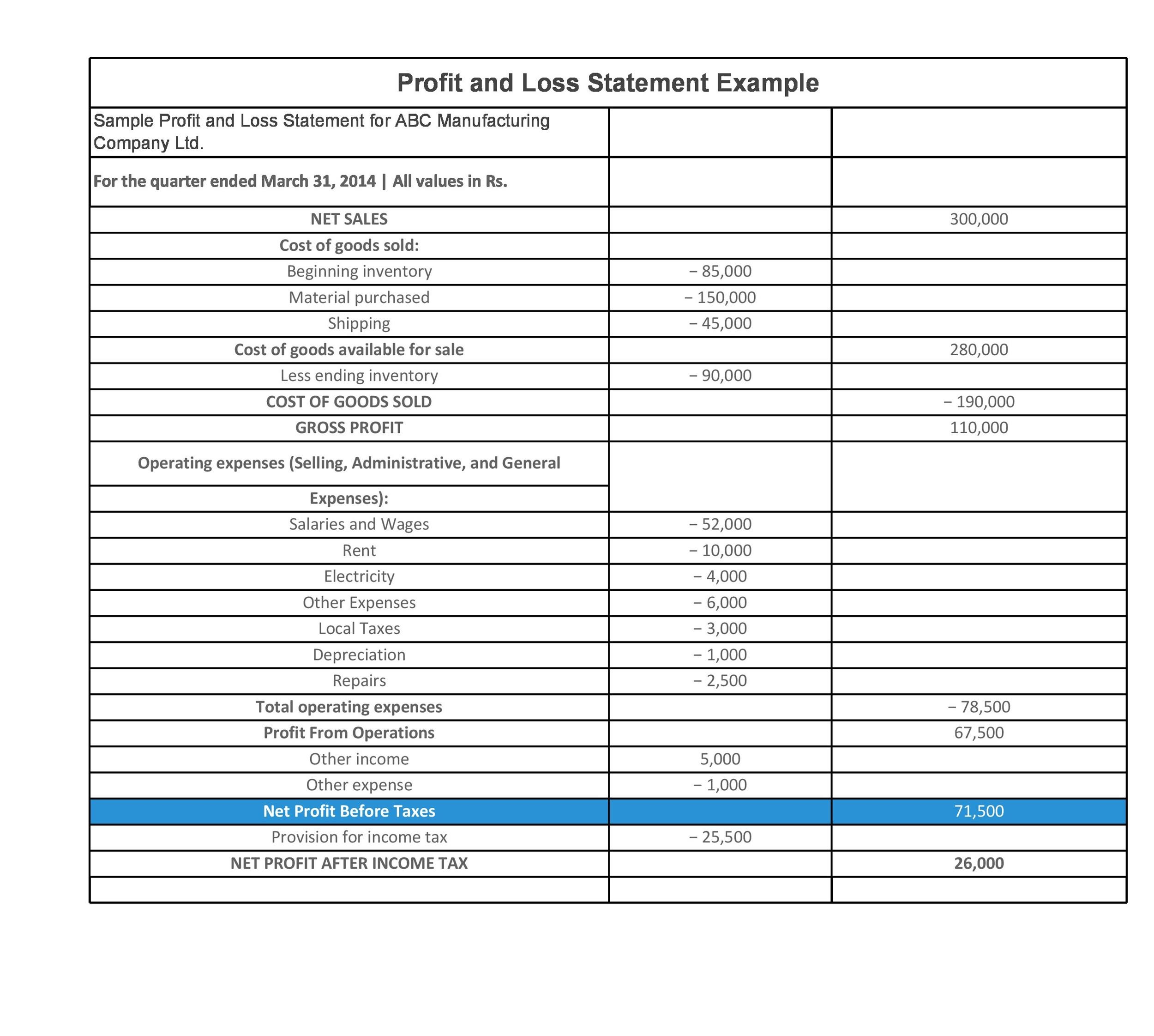 Profit And Loss Form Profit And Loss Statement Template Free Profit