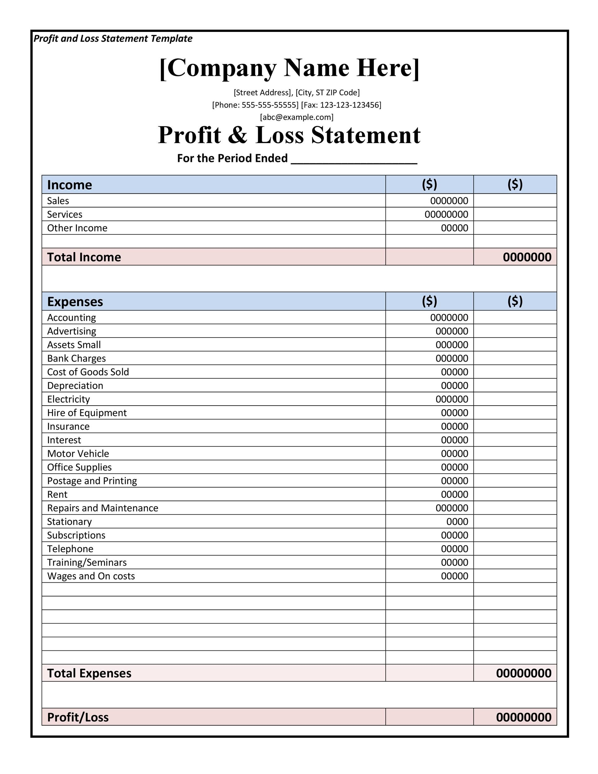 Free Profit And Loss Statement Template
