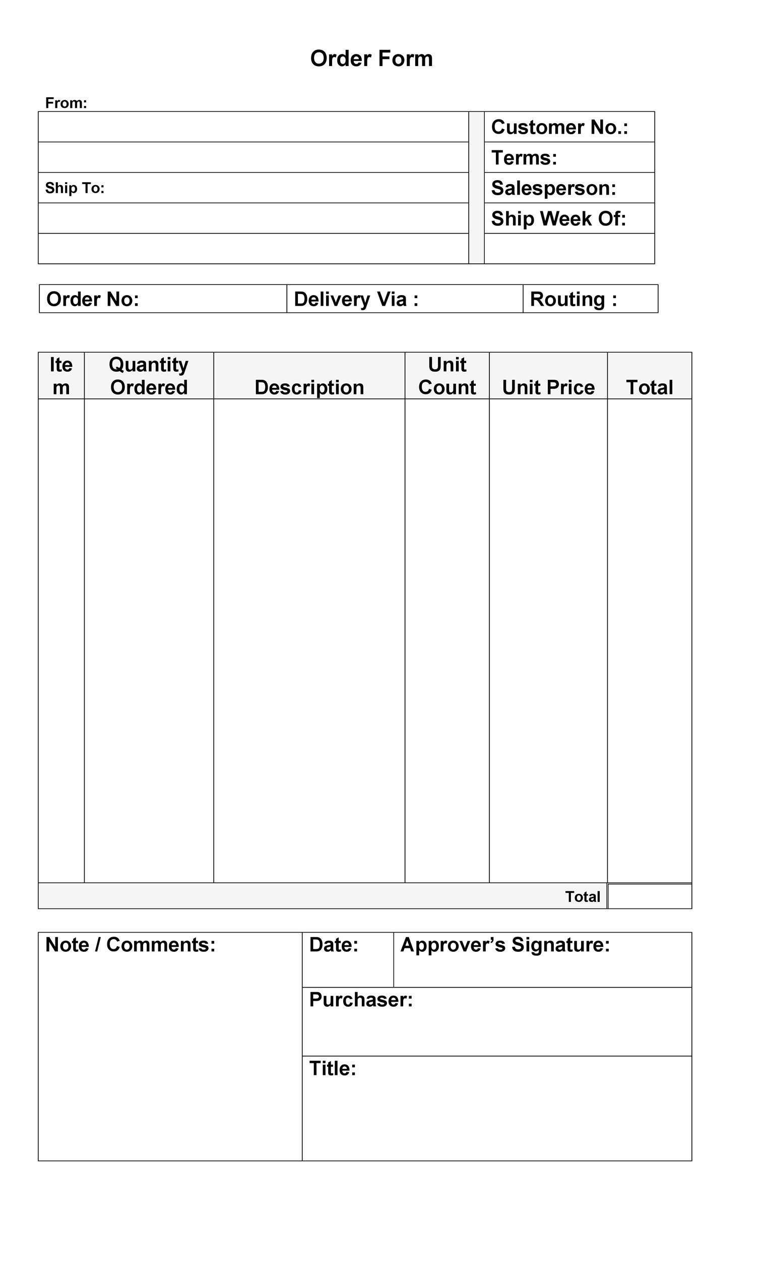 Printable Purchase Order Template 01