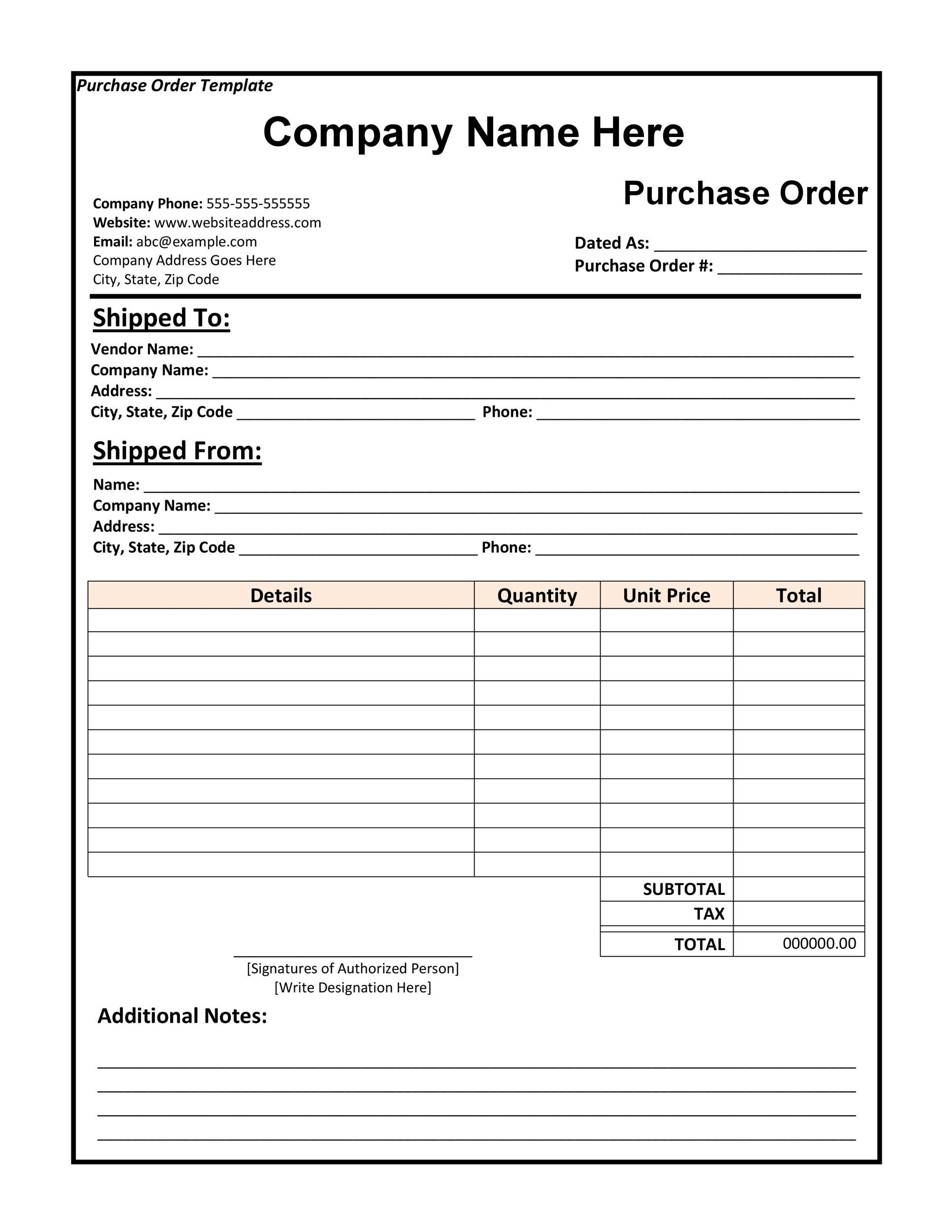 Printable Purchase Order Template 03  Excel Po Template