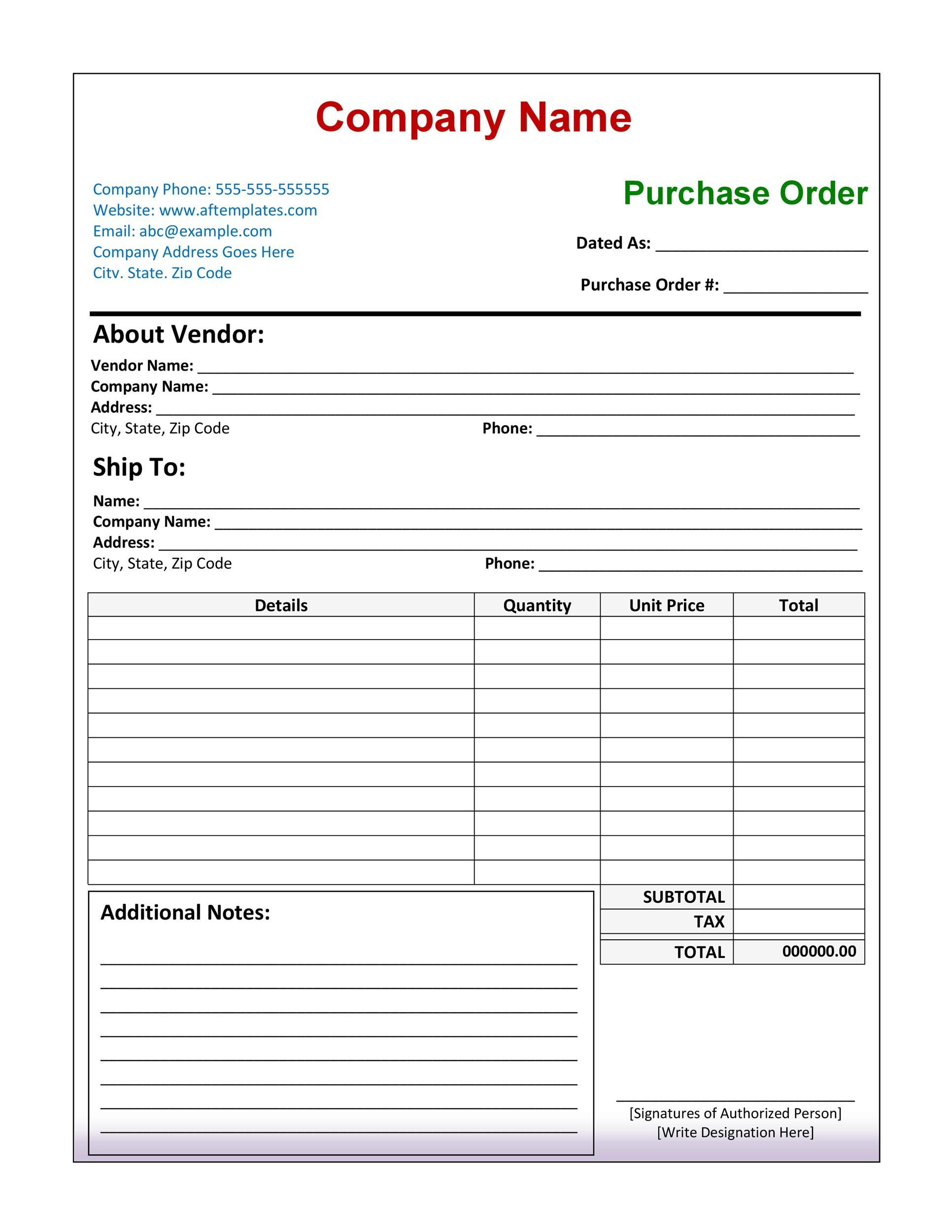 Free Purchase Order Template 08