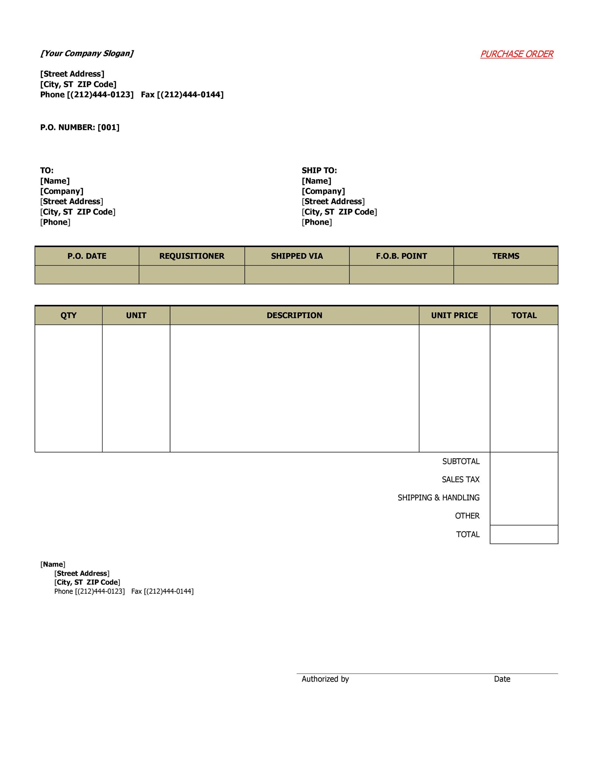 Printable Purchase Order Template 10  Excel Po Template