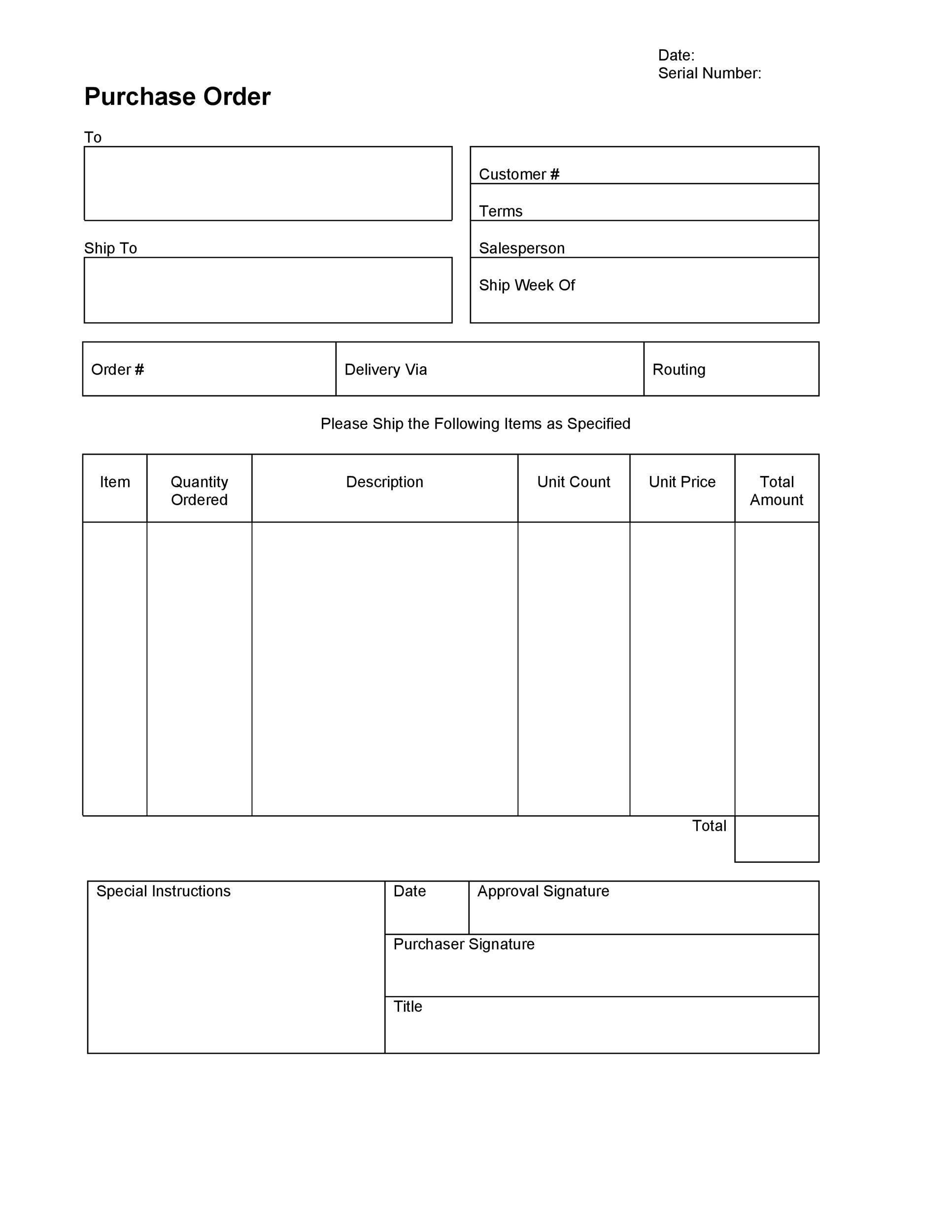Free Purchase Order  Template 13