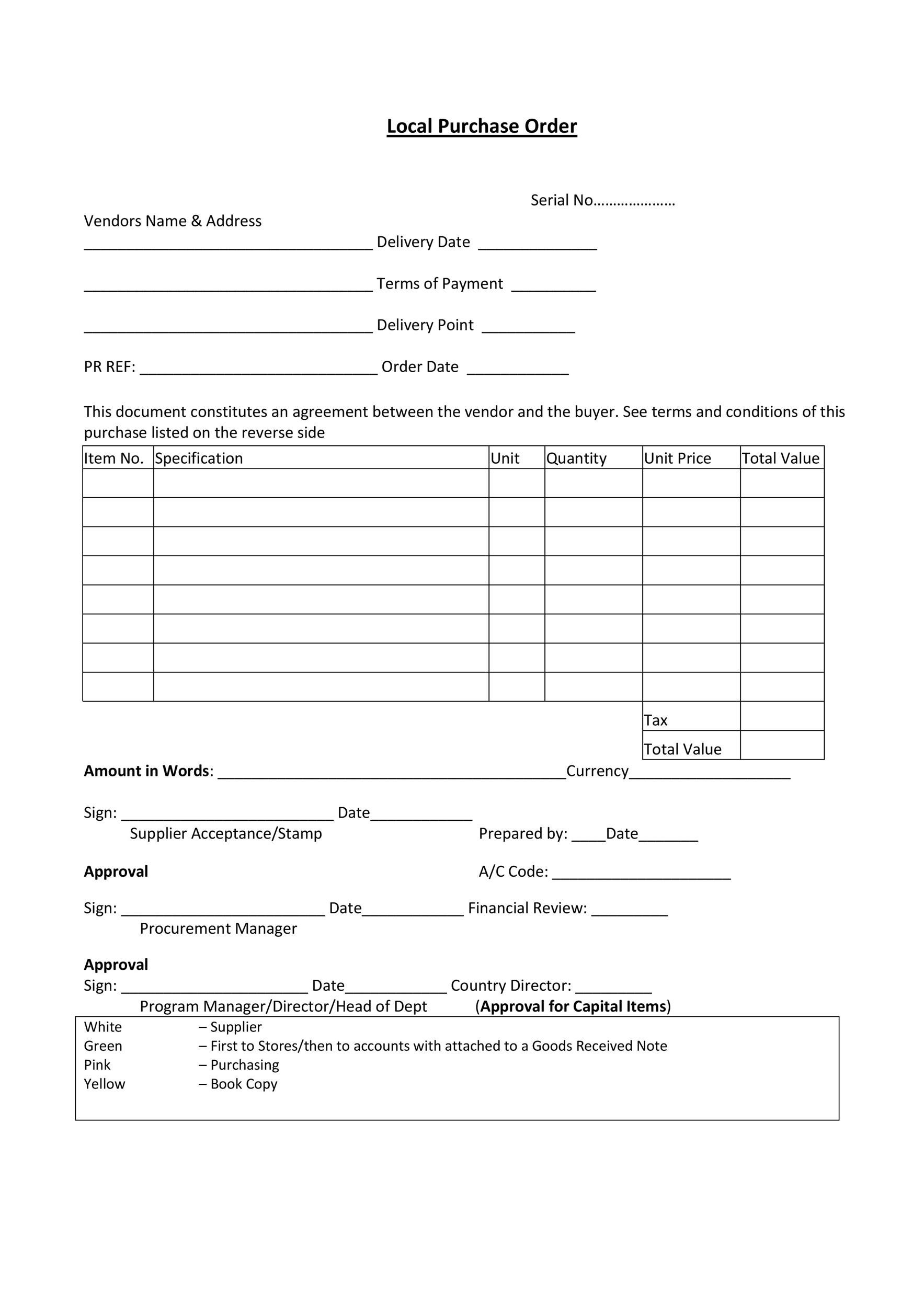 Printable Purchase Order Template 16  Lpo Format Sample