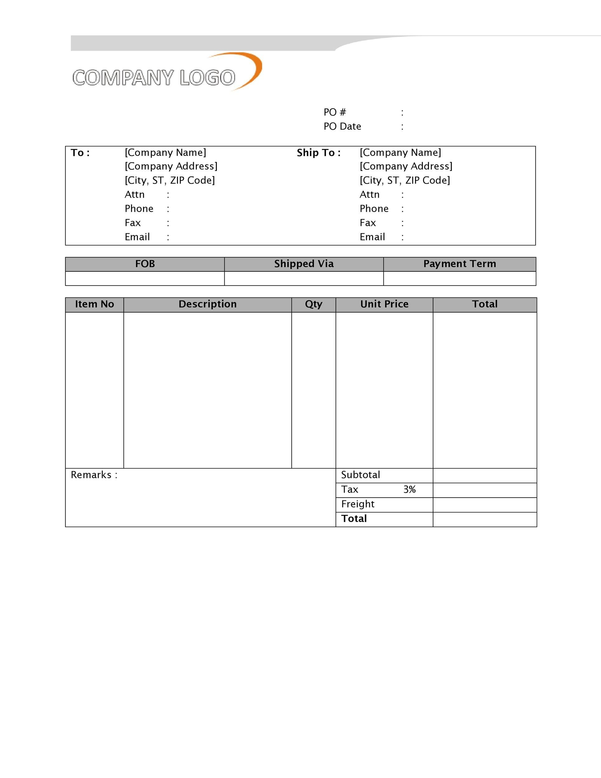 Free Purchase Order  Template 22