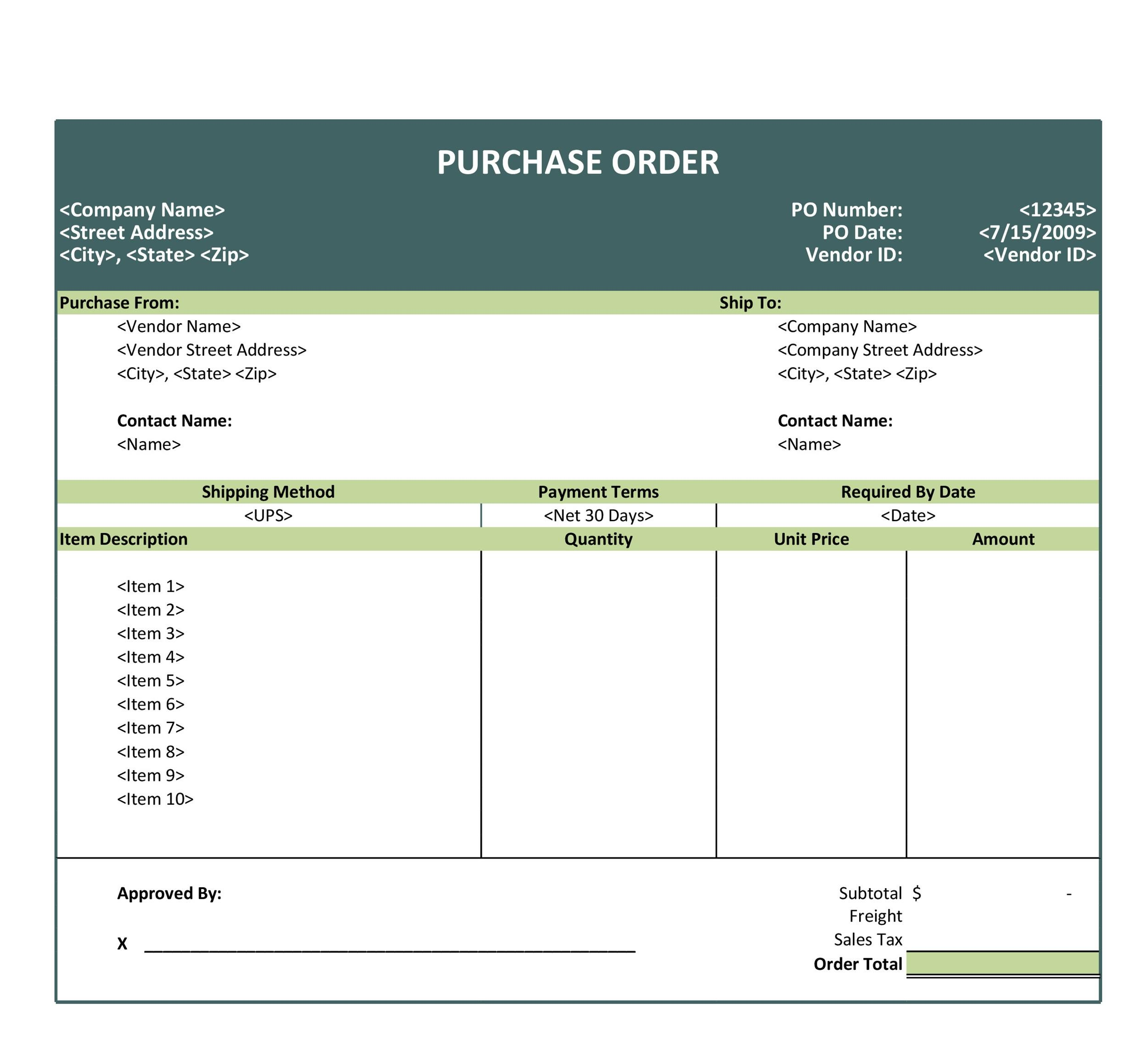 pro forma purchase order