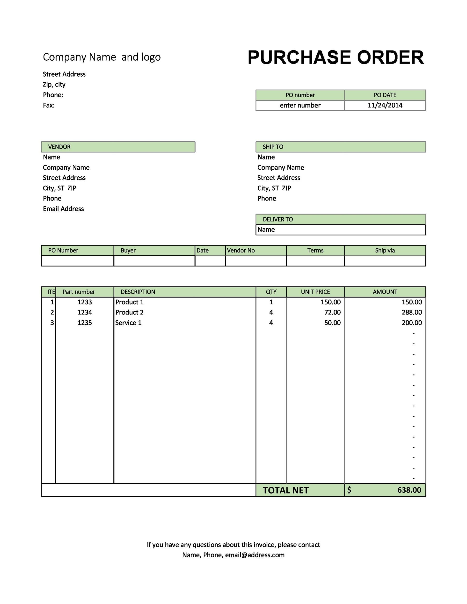 free templates purchase order  37 Free Purchase Order Templates in Word