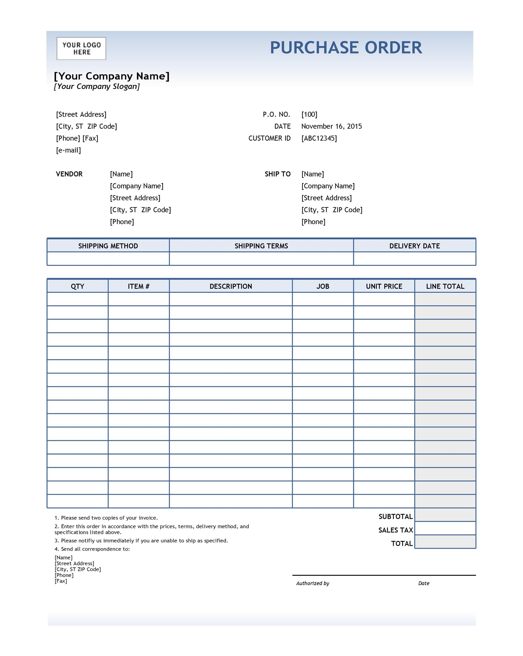 Elegant Printable Purchase Order Template 30 For Excel Po Template