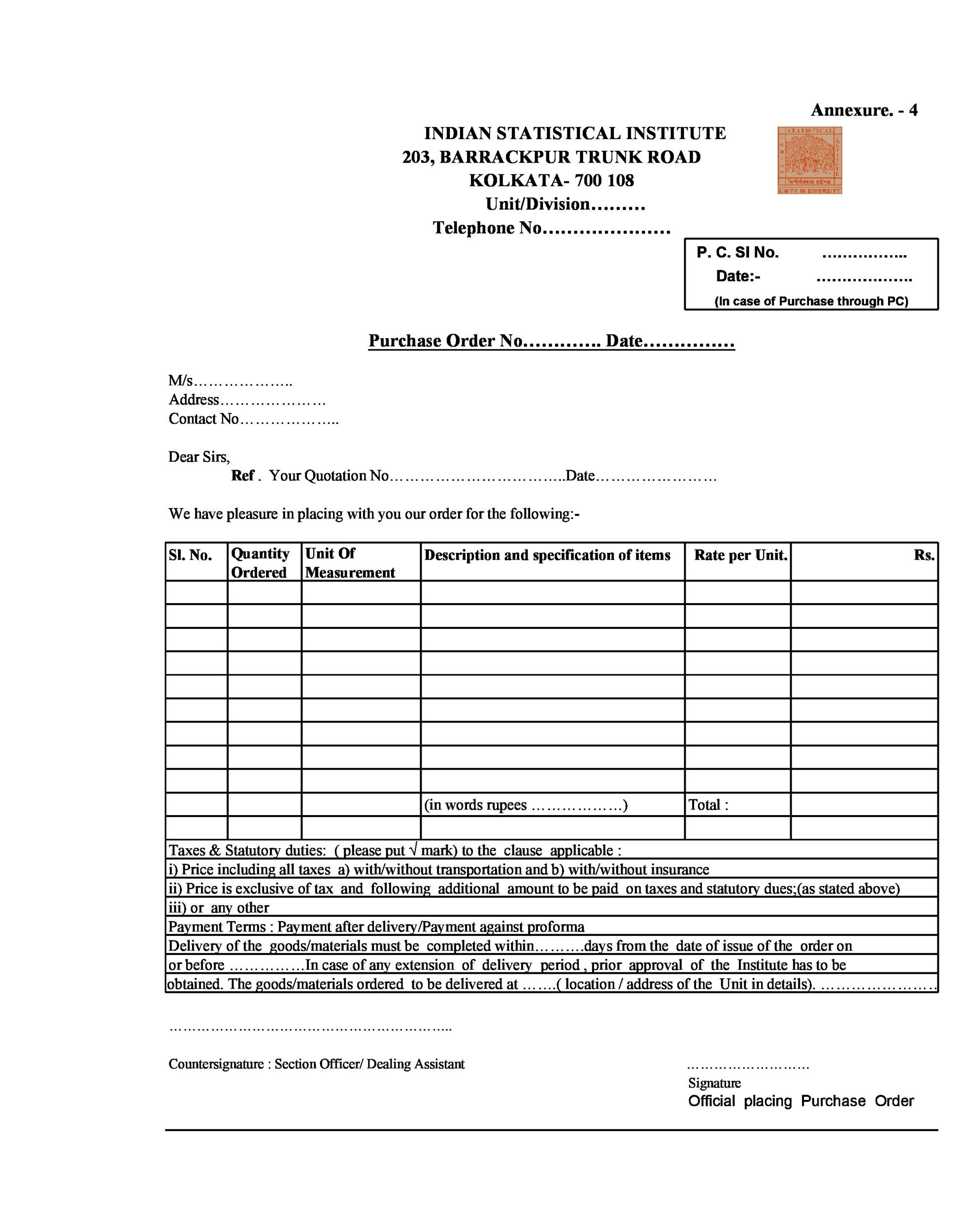 Free Purchase Order  Template 31