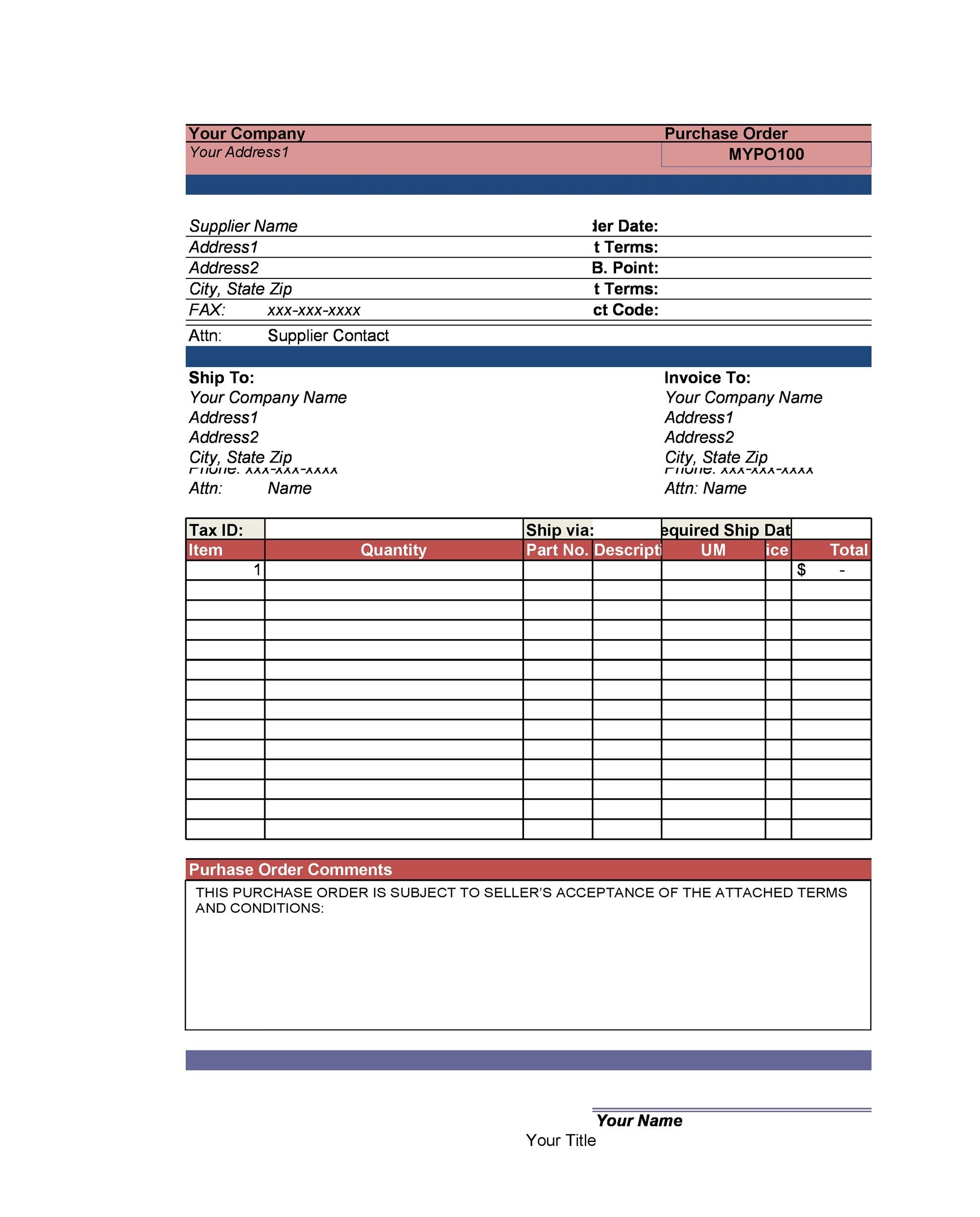 Free Purchase Order  Template 35