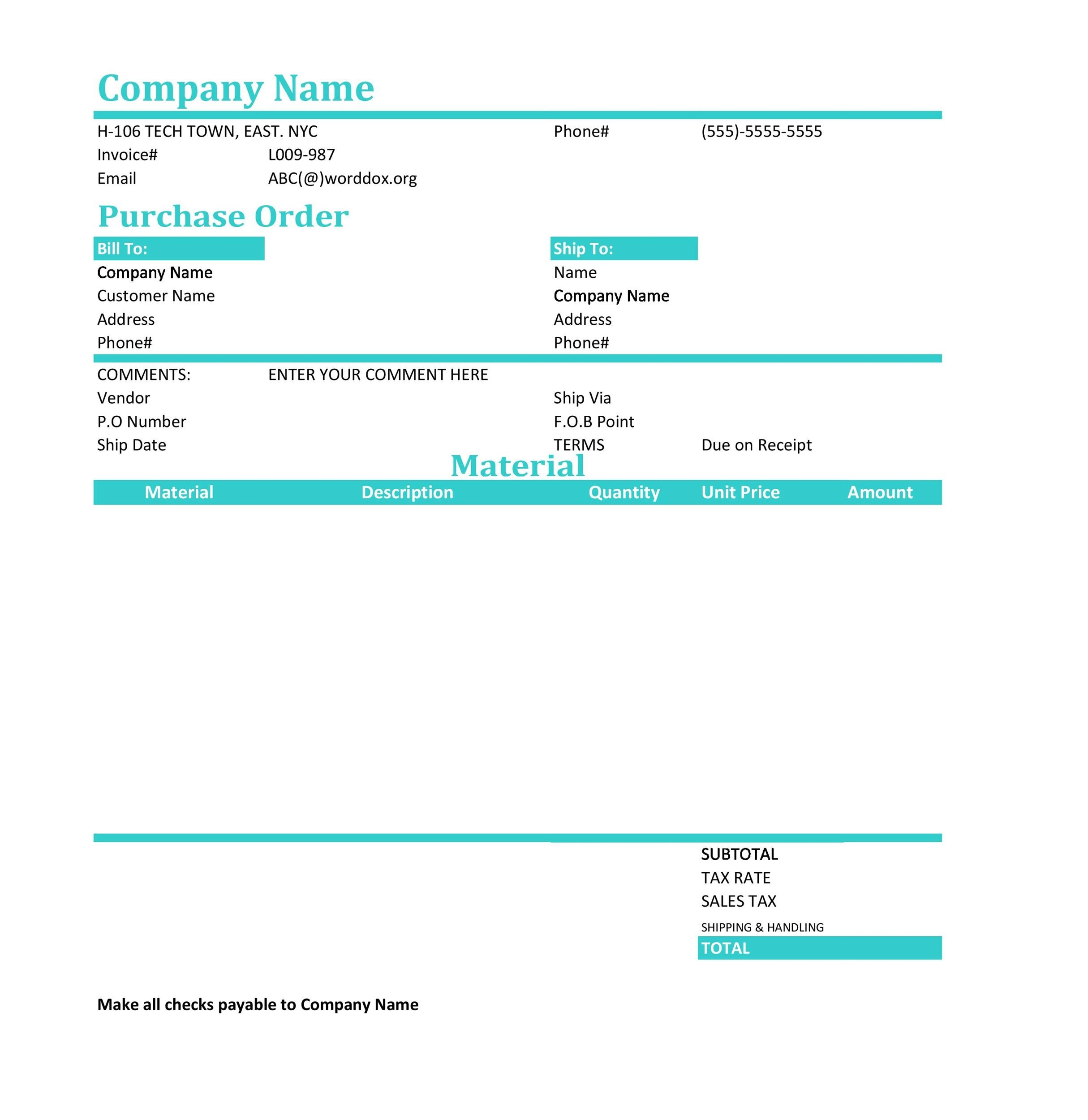 Printable Purchase Order Template 36  Format Of Purchase Order Form