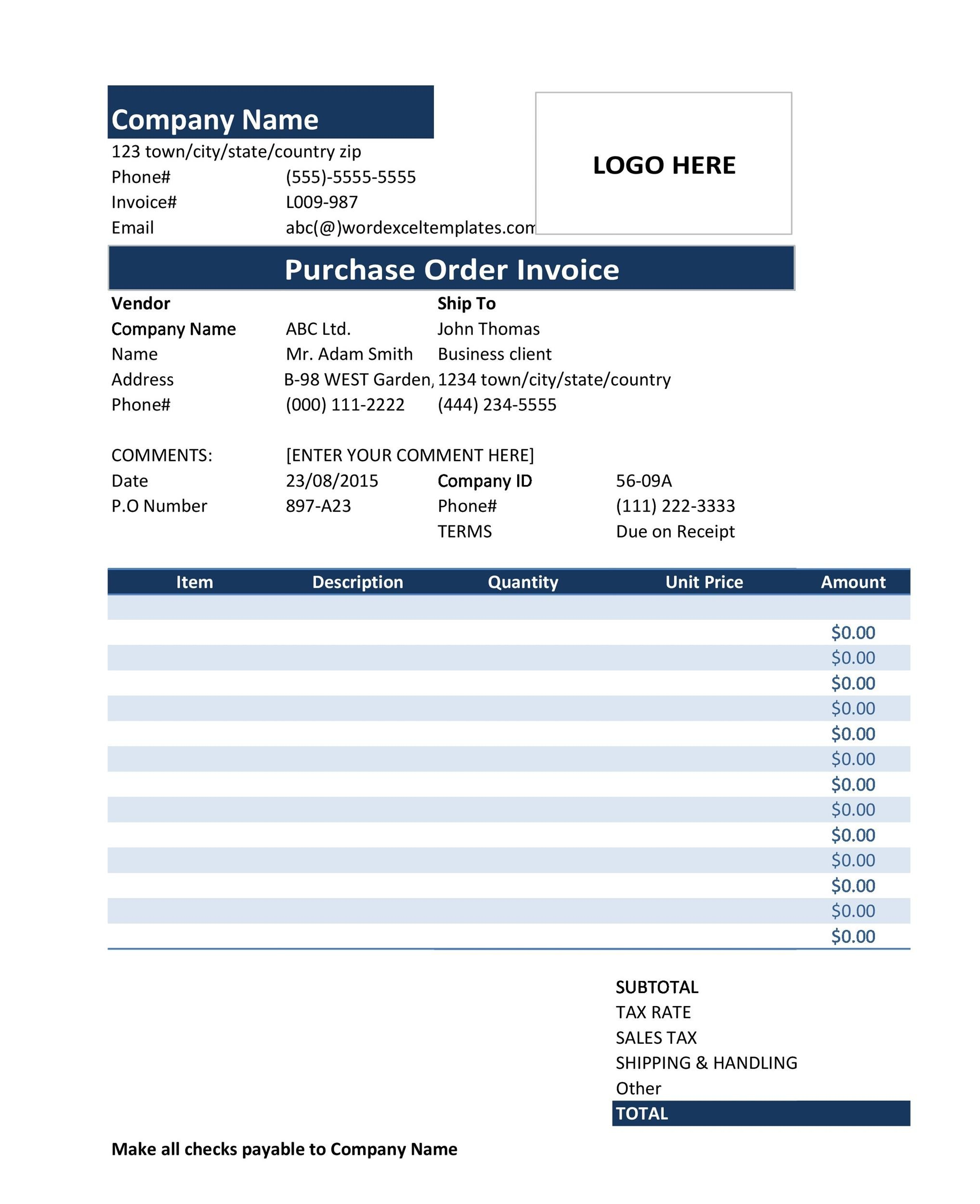 Printable Purchase Order Template 37  Excel Po Template