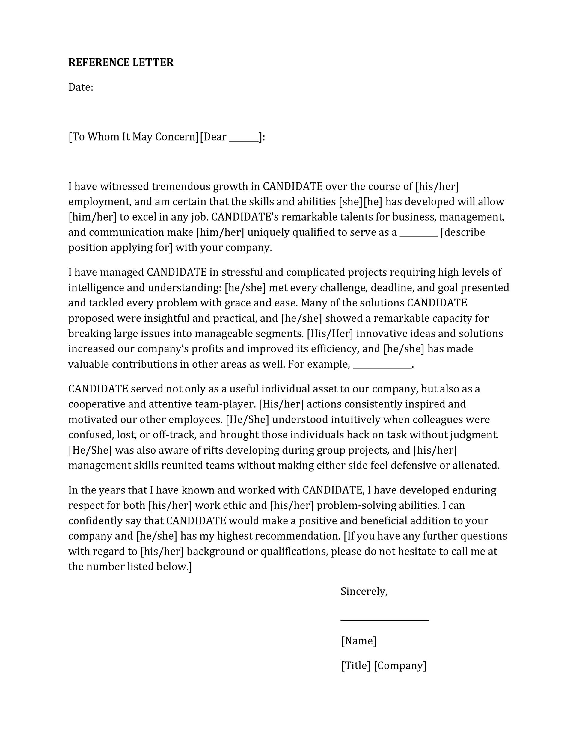 letter of recommendation free template