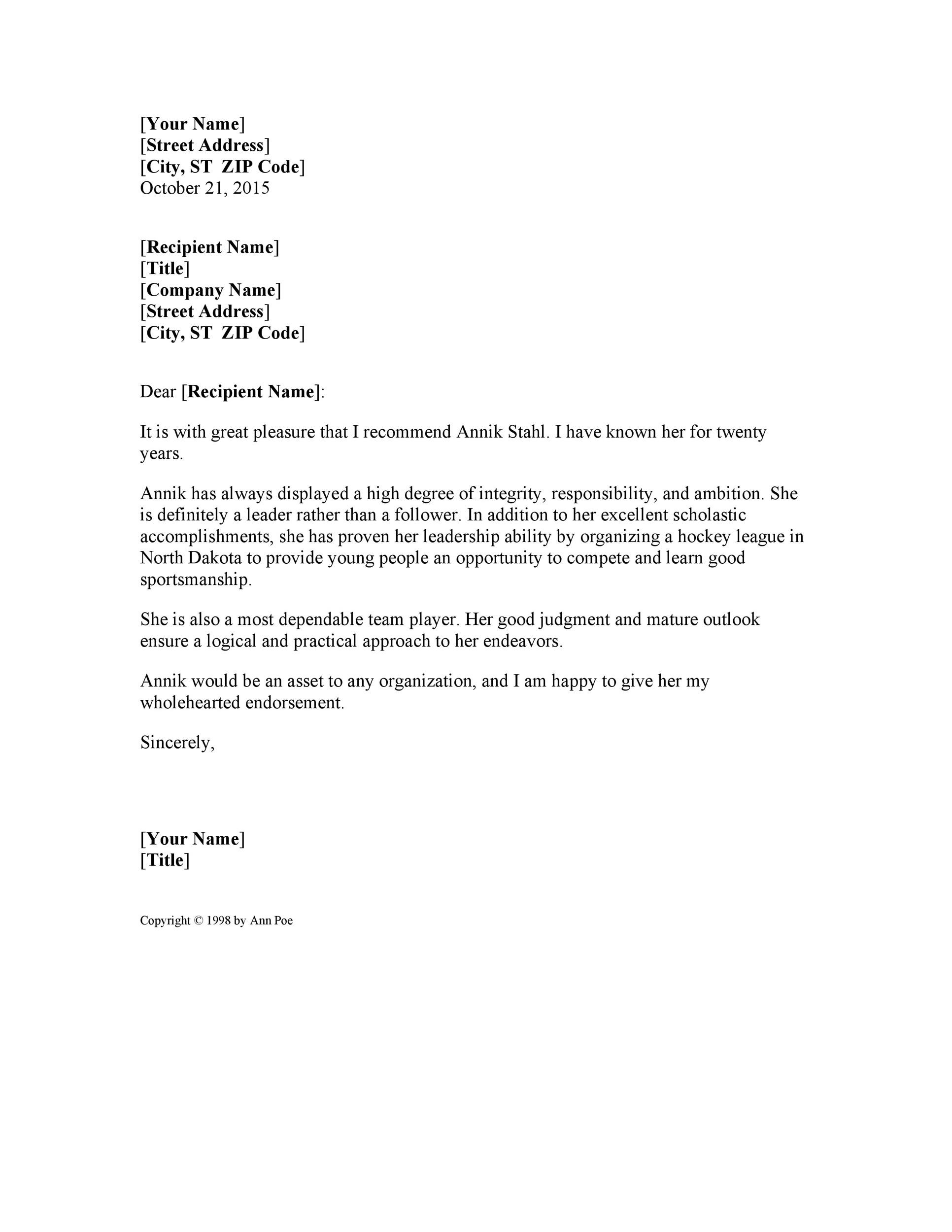 Great Printable Reference Letter 02 Regarding Personal Character Letter