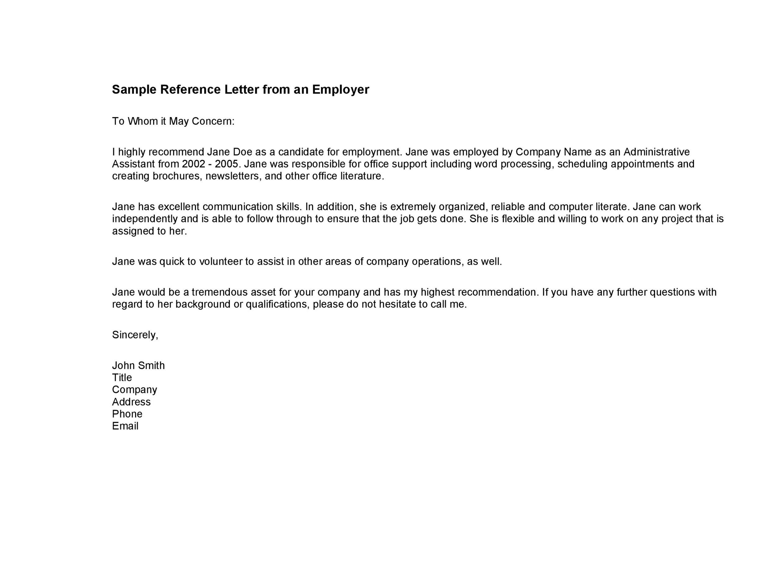 Printable Reference Letter 03  Character Reference Letter For Employee