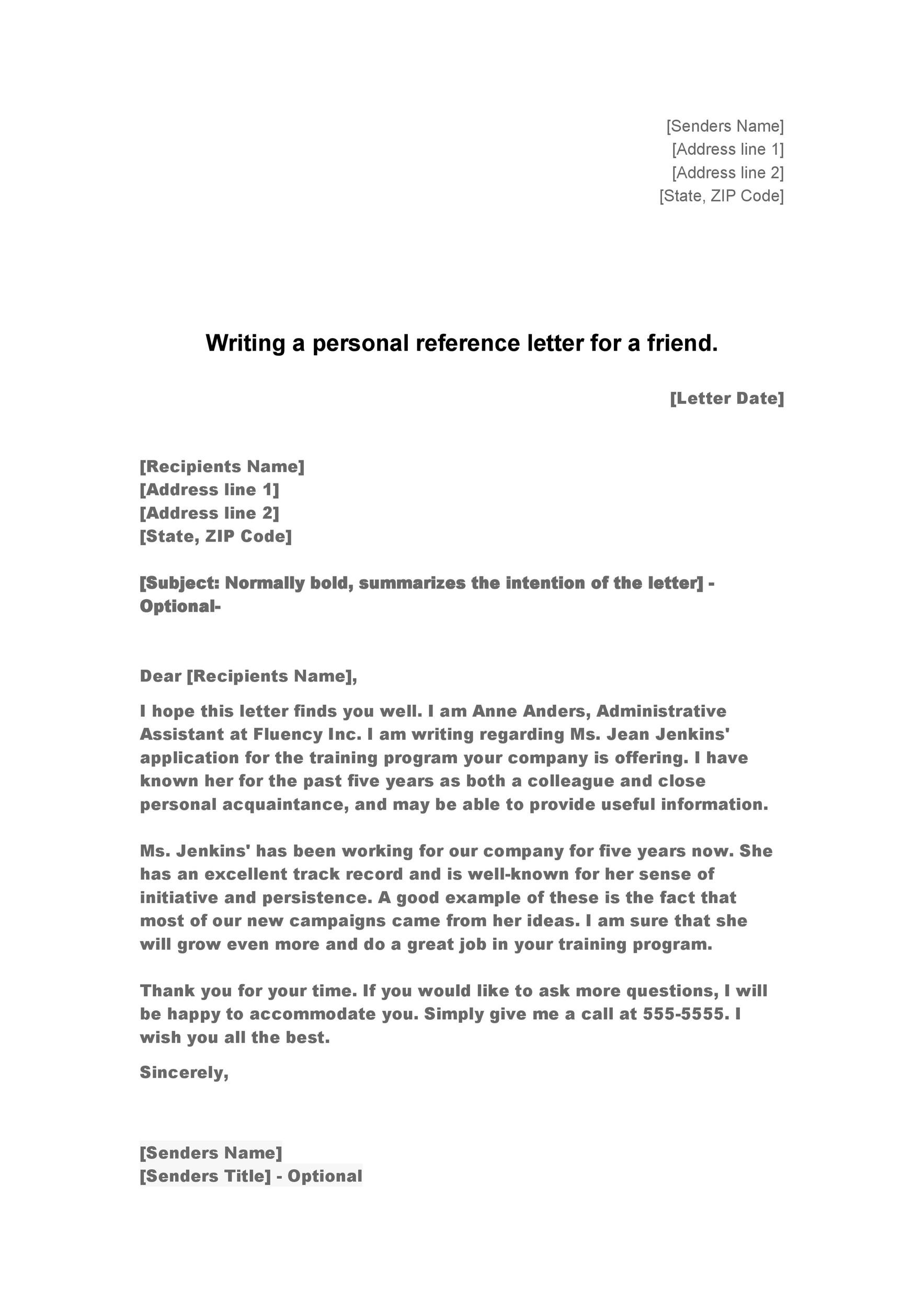 Perfect Printable Reference Letter 05 With Personal Character Letter