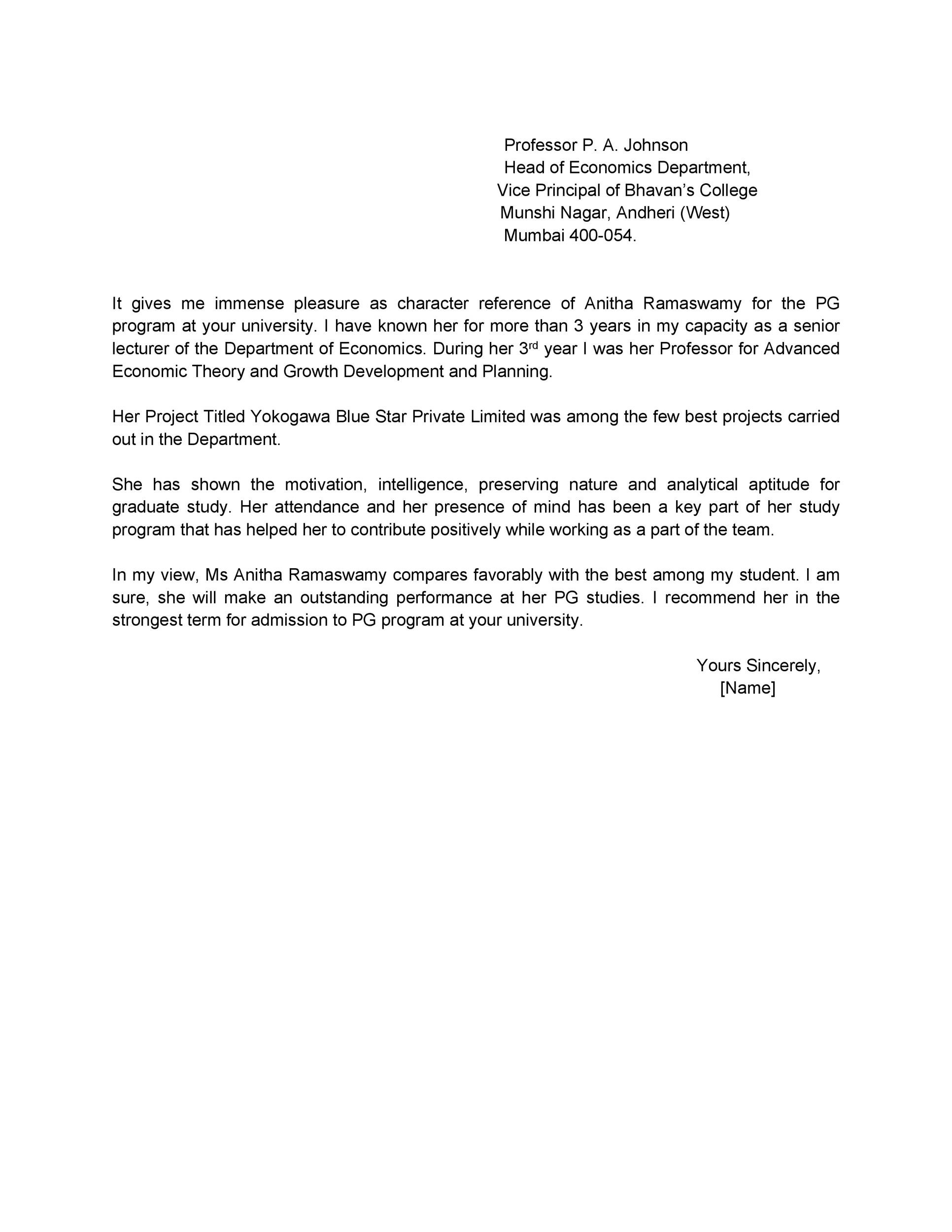 Printable Reference Letter 06  Personal Letter Of Recommendation Sample