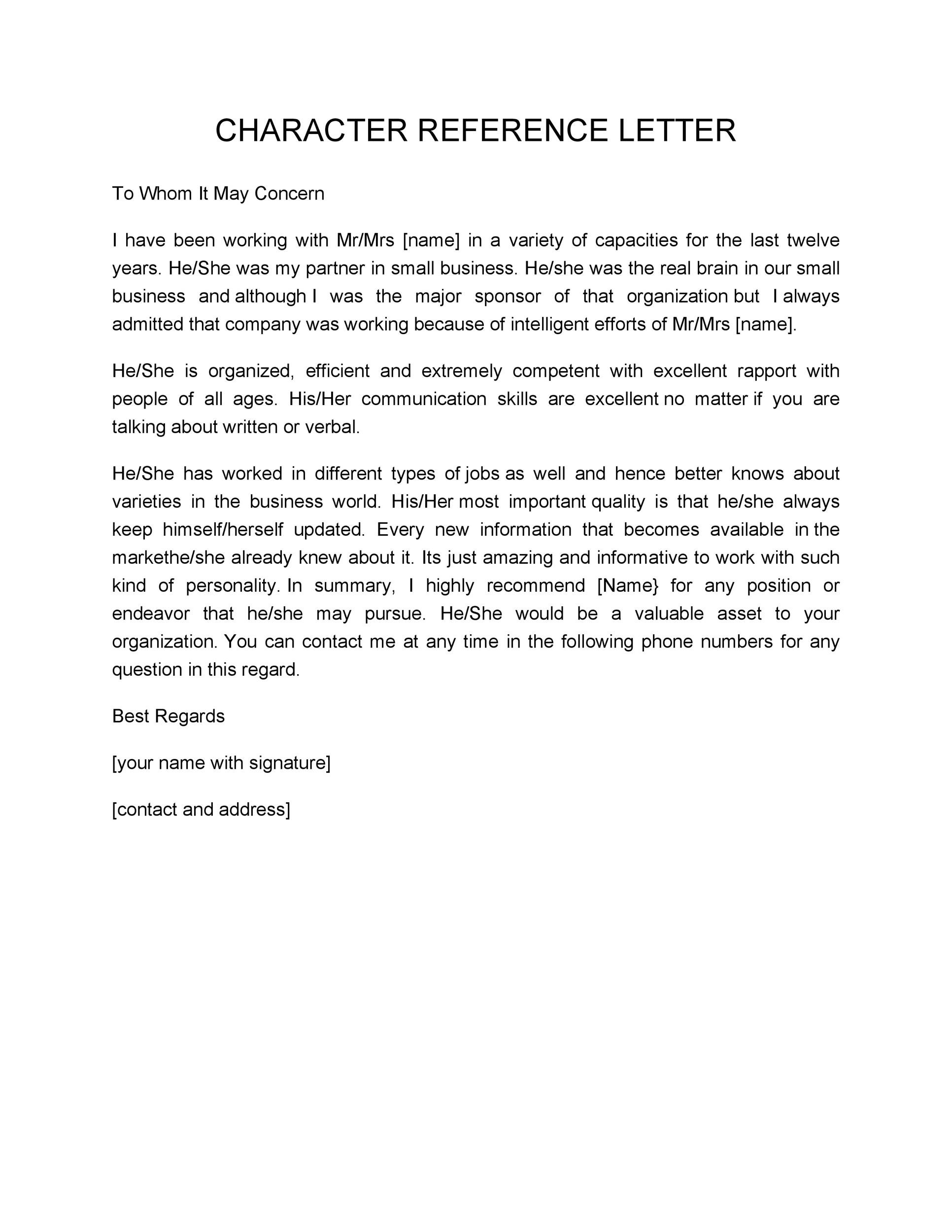 Character Letter Of Recommendation Sample  Template