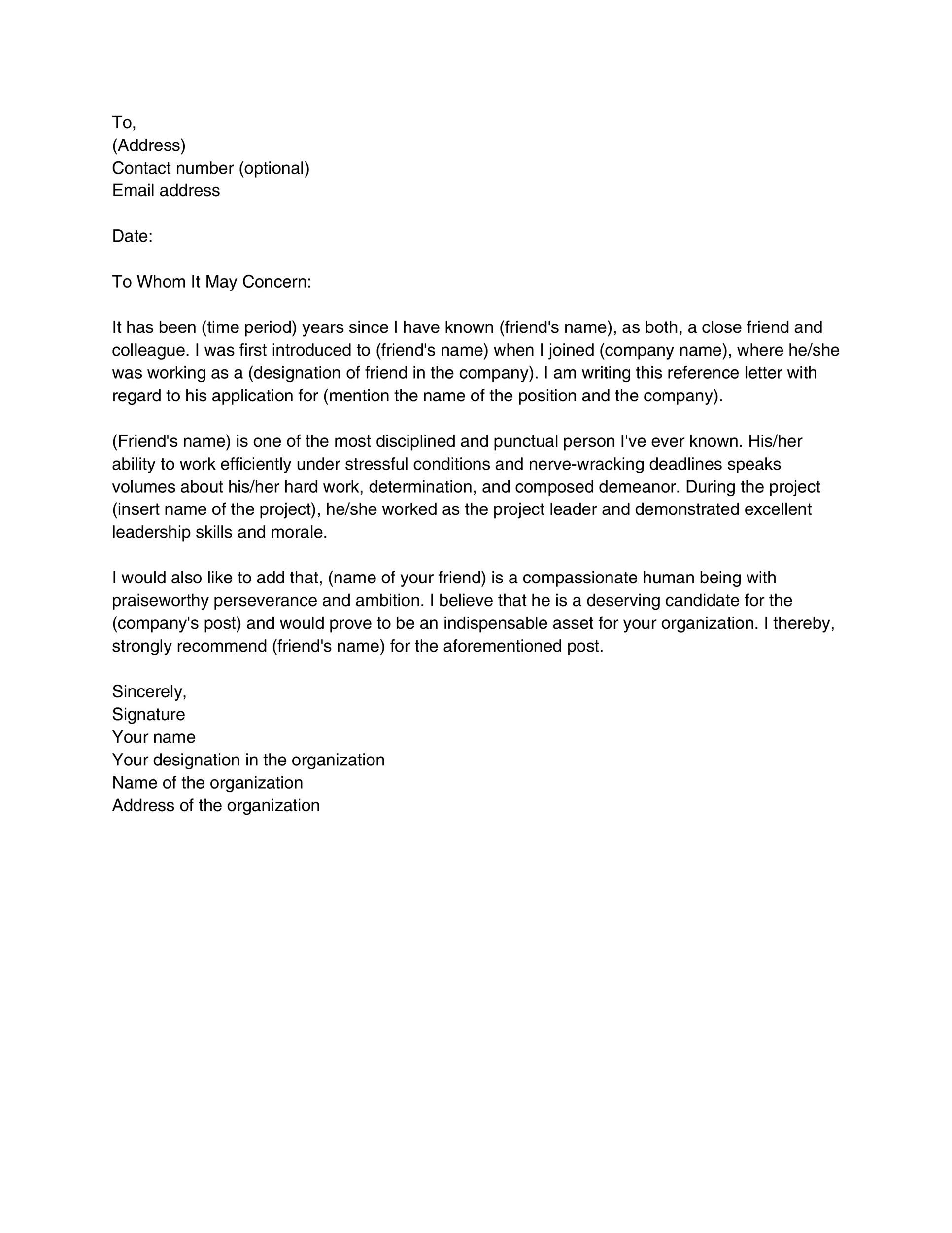 Recommendation Letter For A Friend Template from templatelab.com