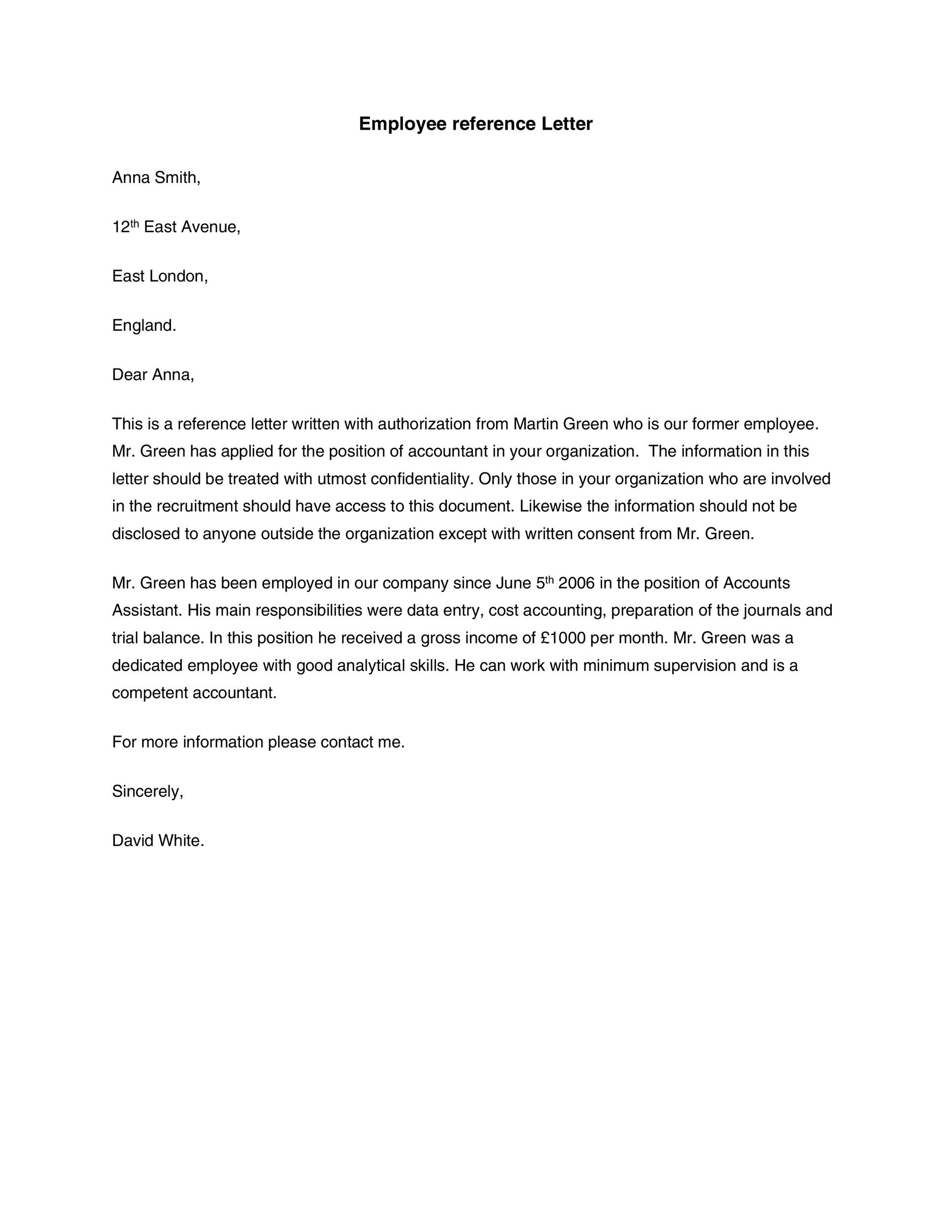 Printable Reference Letter 20  Character Reference Letter For Employee