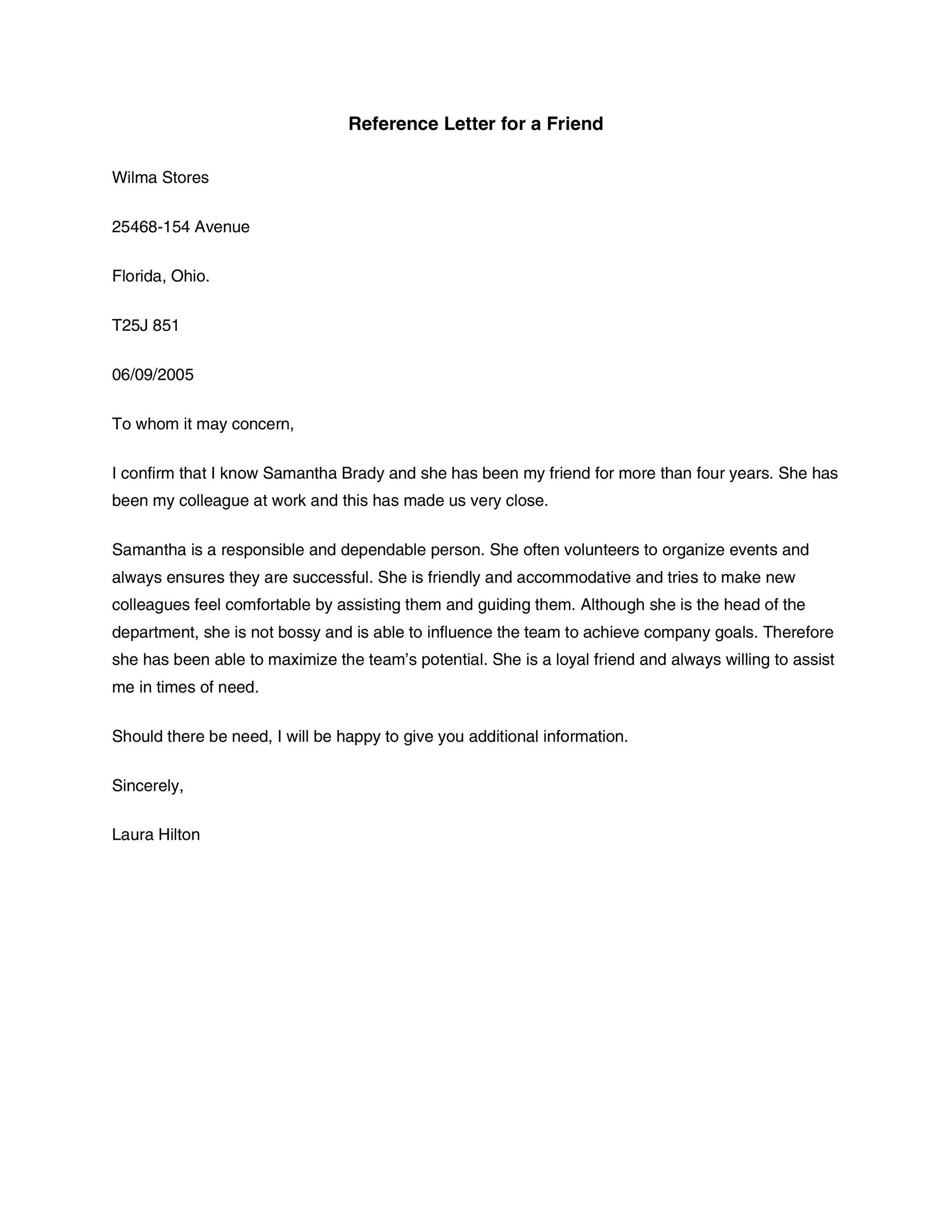 letter of recommendation format for a friend