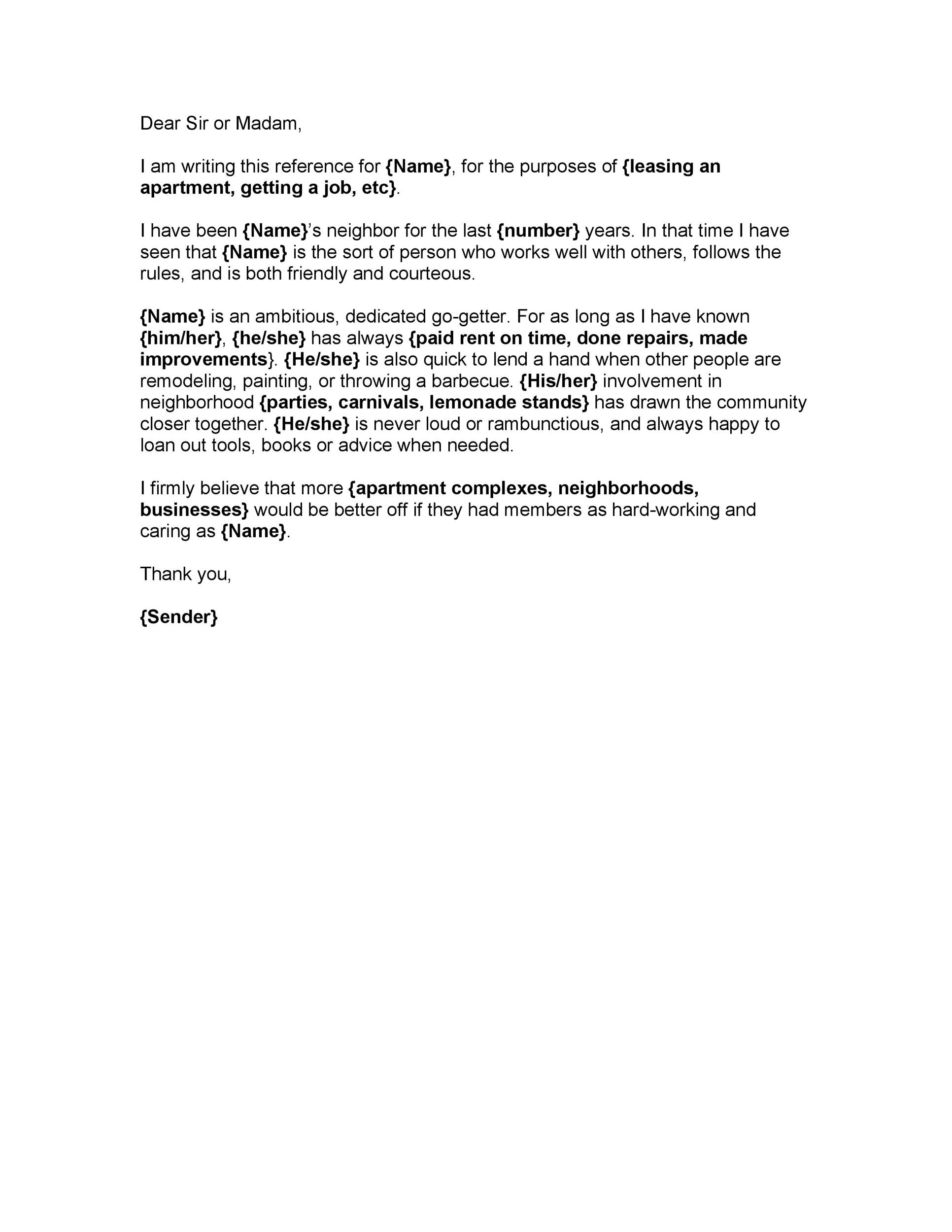 Printable Reference Letter 24  Personal Reference Letter For A Job