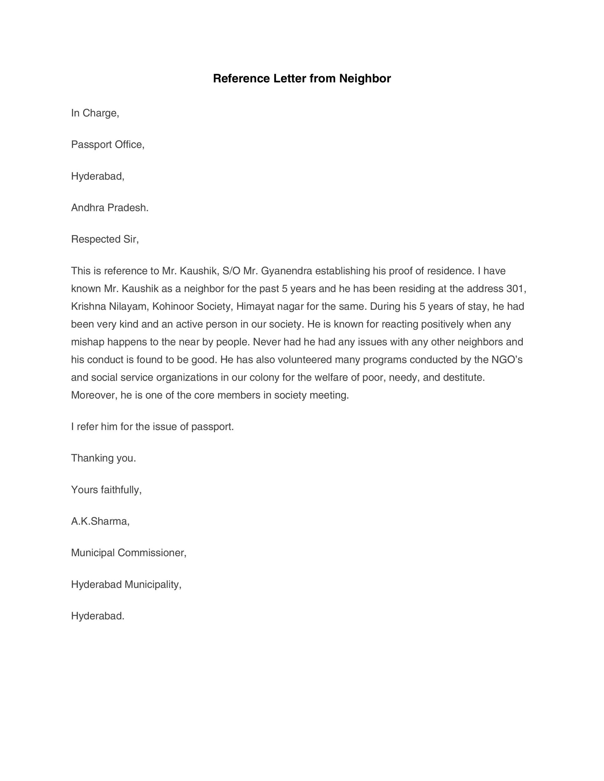 Free Reference letter 26