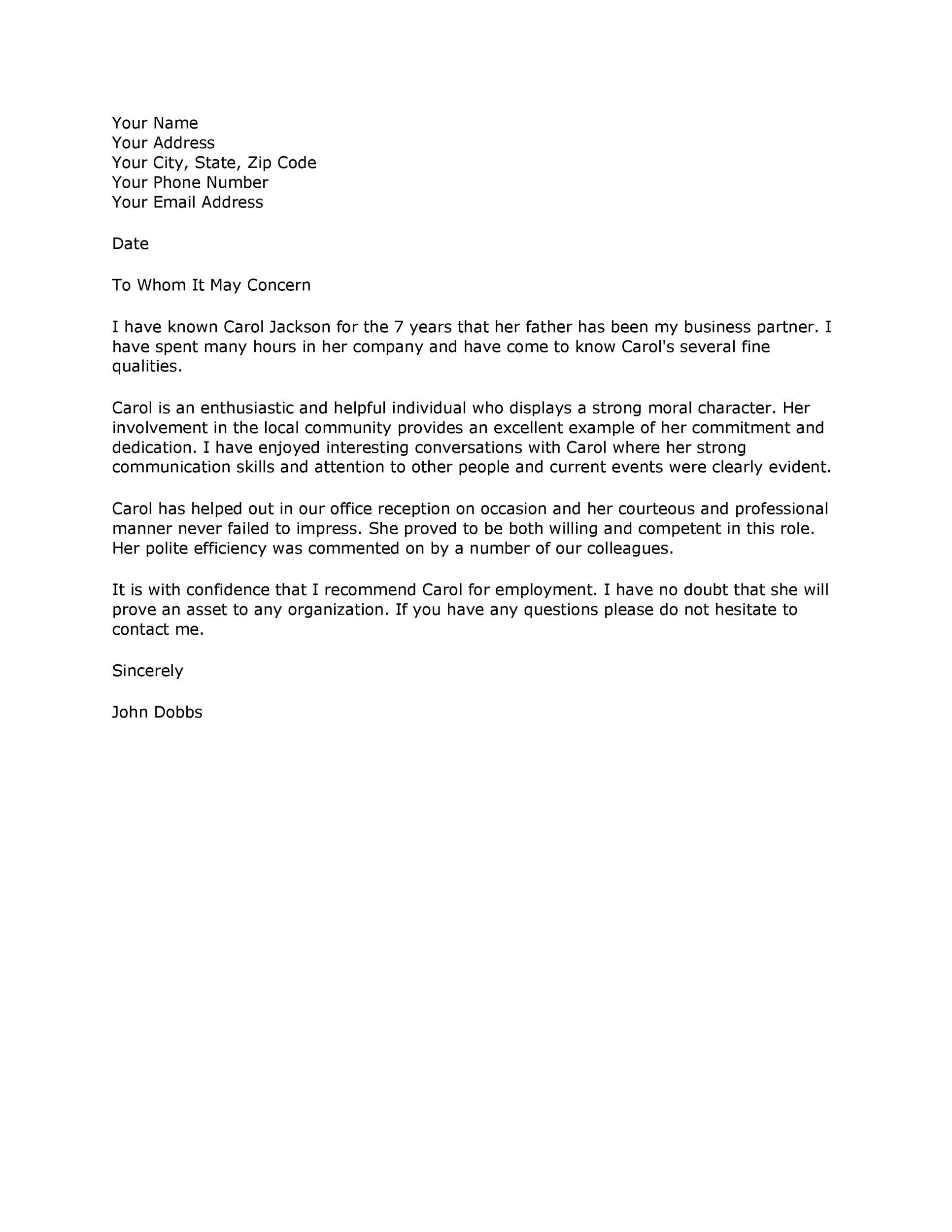 Professional Reference Letter Template Word from templatelab.com