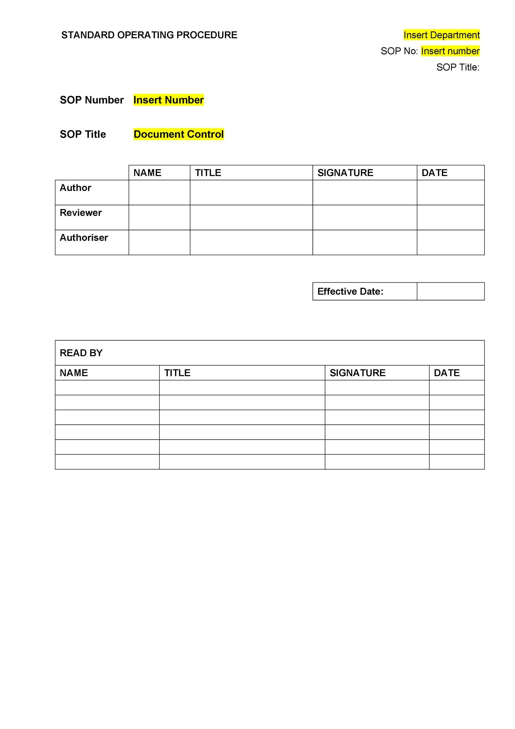 Printable SOP Templates 02  Free Office Procedures Manual Template