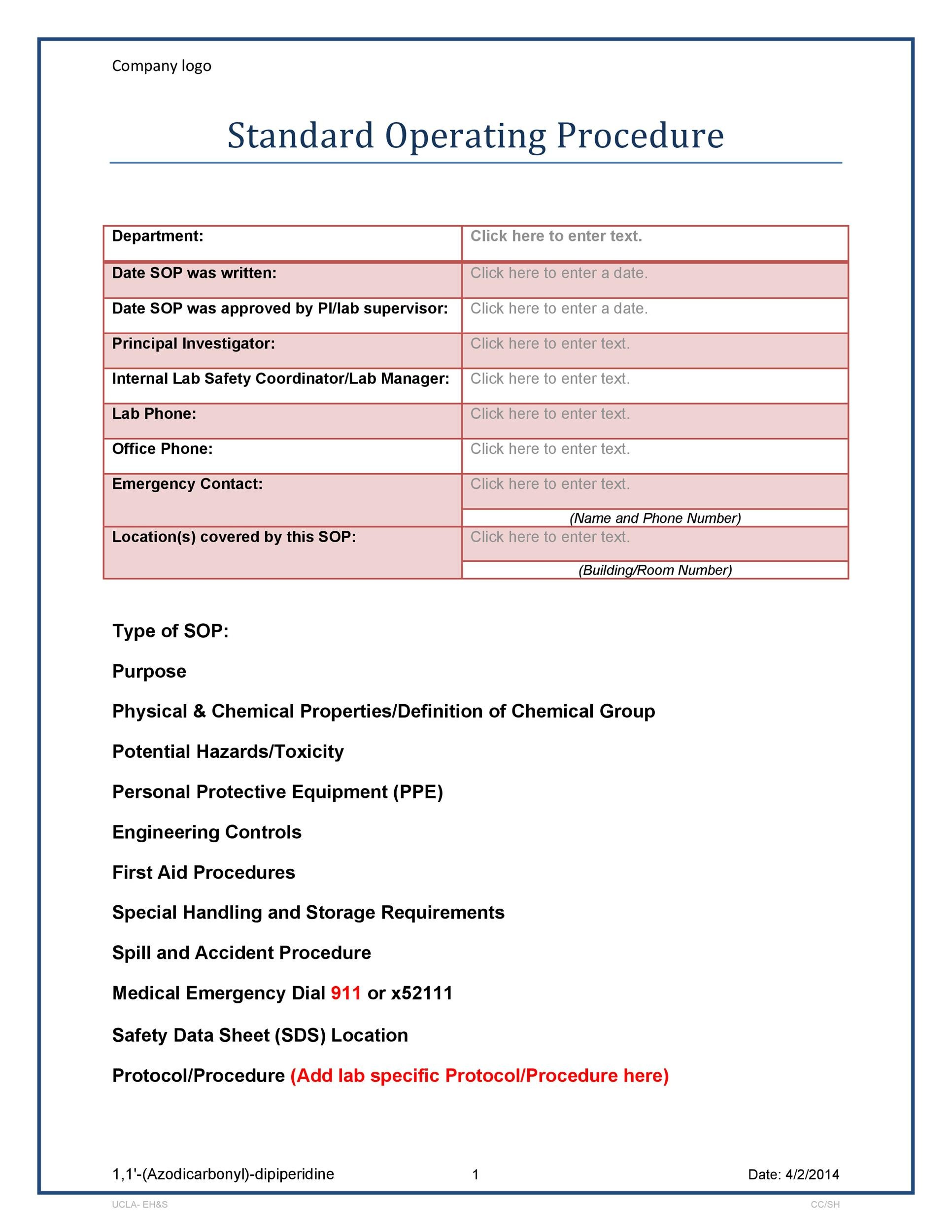37 best standard operating procedure sop templates for Written procedure template